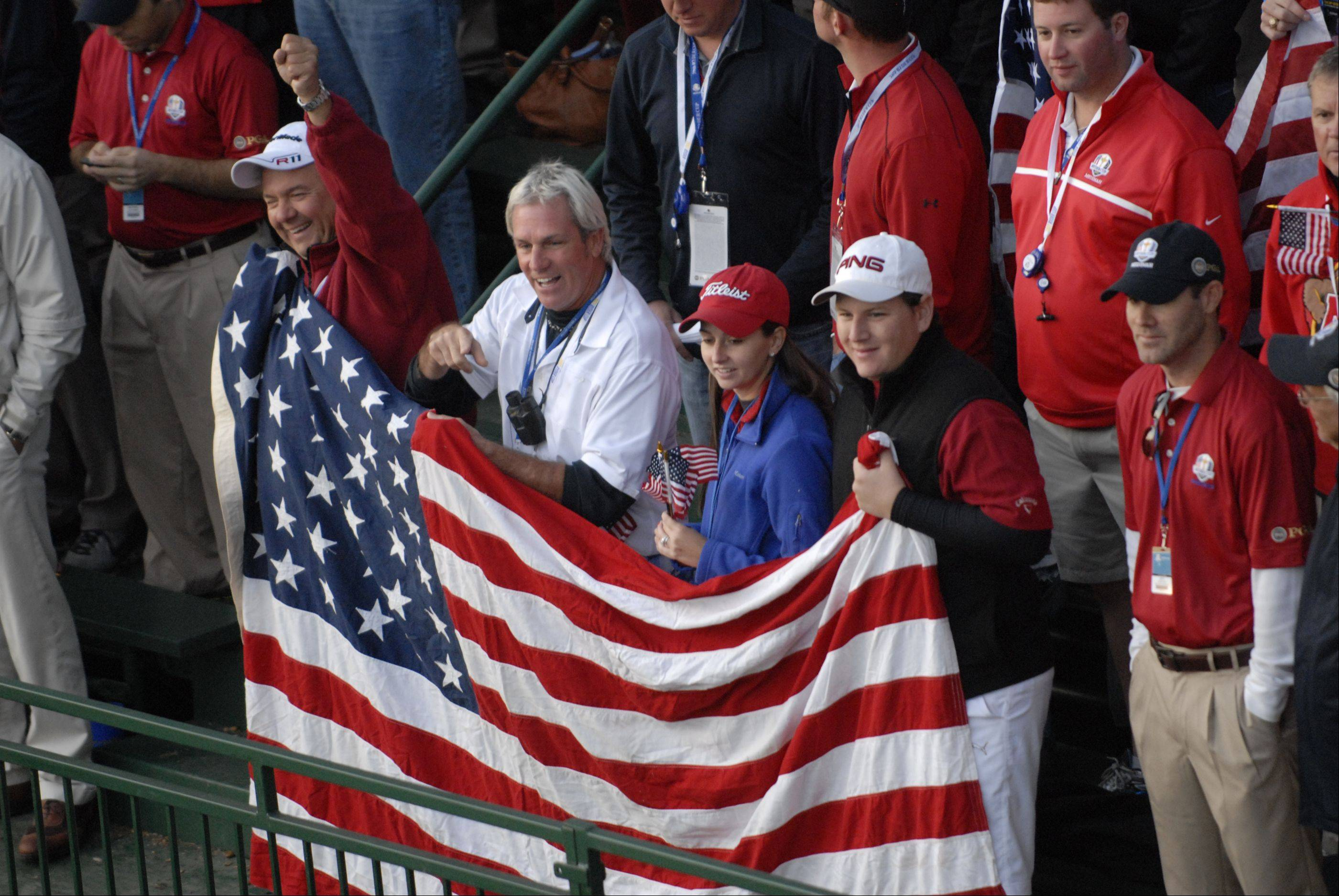 Team USA fans show their support at the first tee Saturday morning during day 2 of the 2012 Ryder Cup at Medinah Country Club.