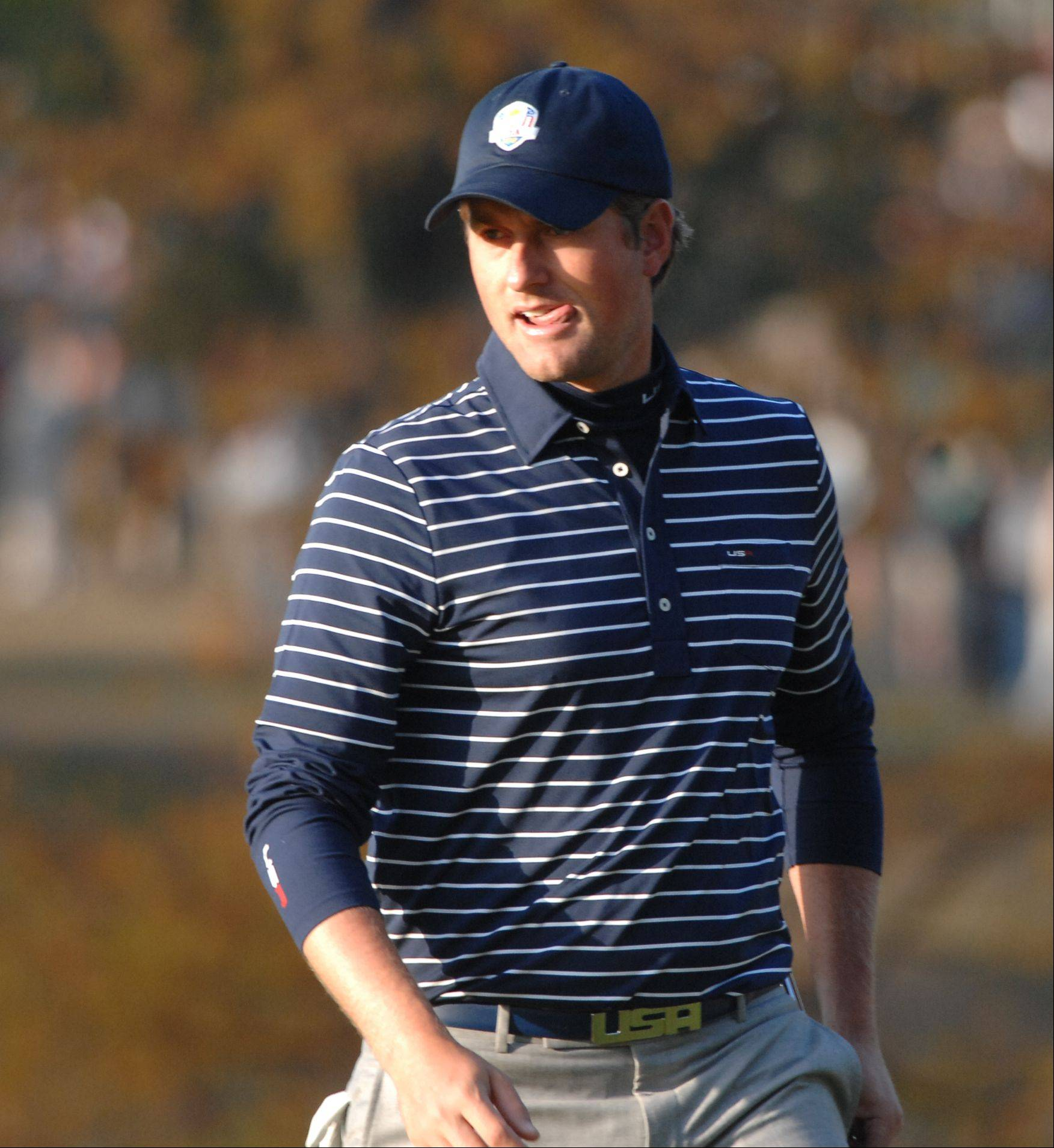 Webb Simpson on the first hole Saturday morning during day 2 of the 2012 Ryder Cup at Medinah Country Club.