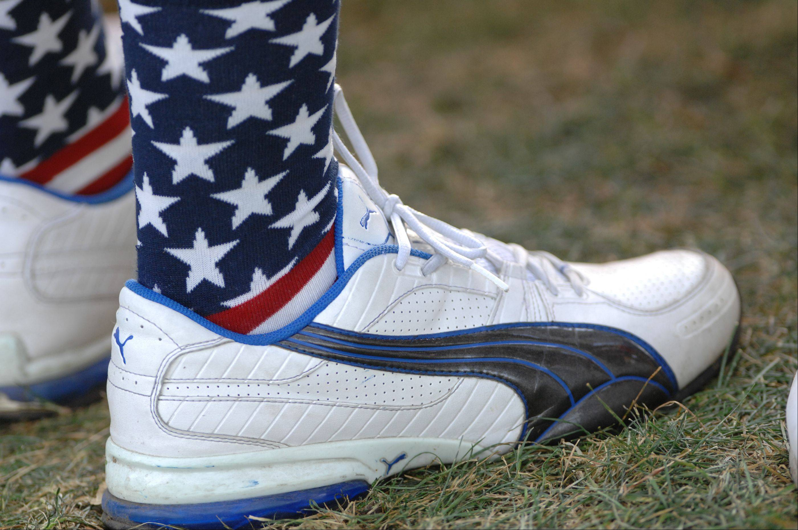 Team USA is supported right down to a pair of socks during day 2 of the 2012 Ryder Cup at Medinah Country Club.