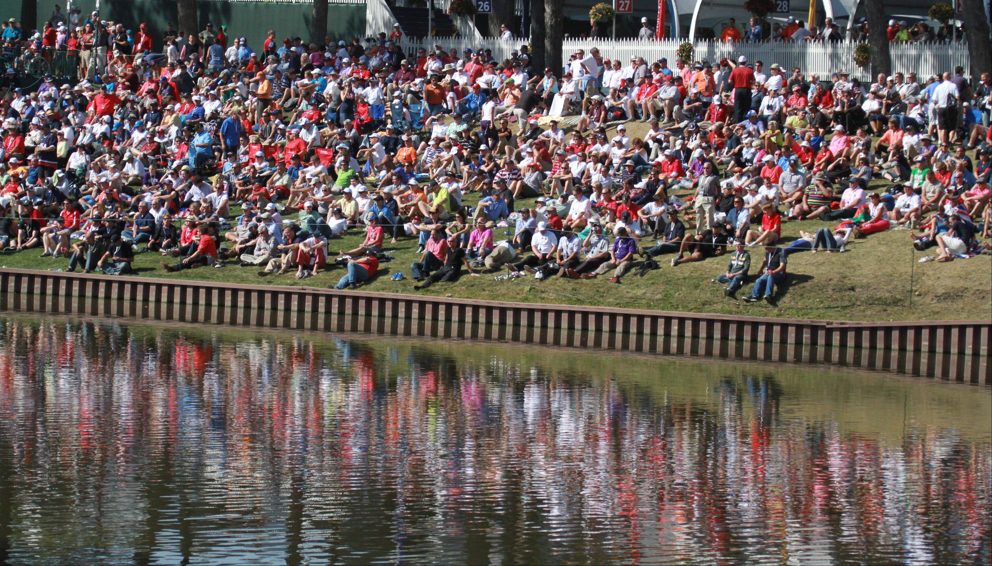 Massive crowds lined every conceivable piece of open space during the afternoon matches of the Ryder Cup at Medinah Country Club.