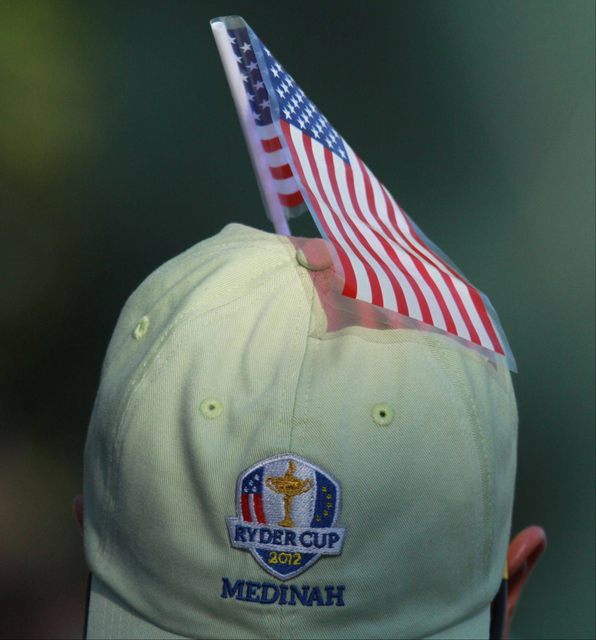 A fan sports the Team USA colors tucked into his hat Saturday afternoon.