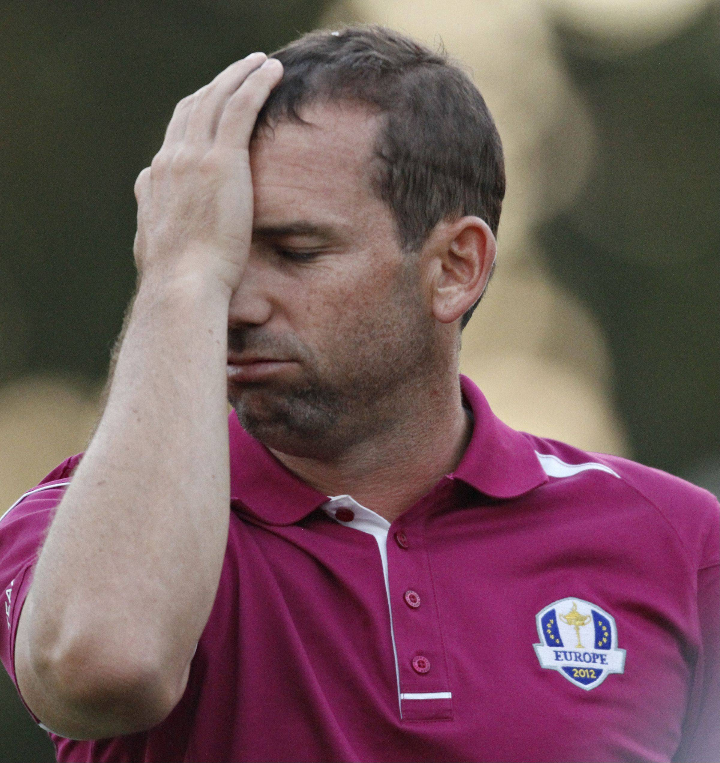 It was a rough day for Sergio Garcia and the European team at Medinah.