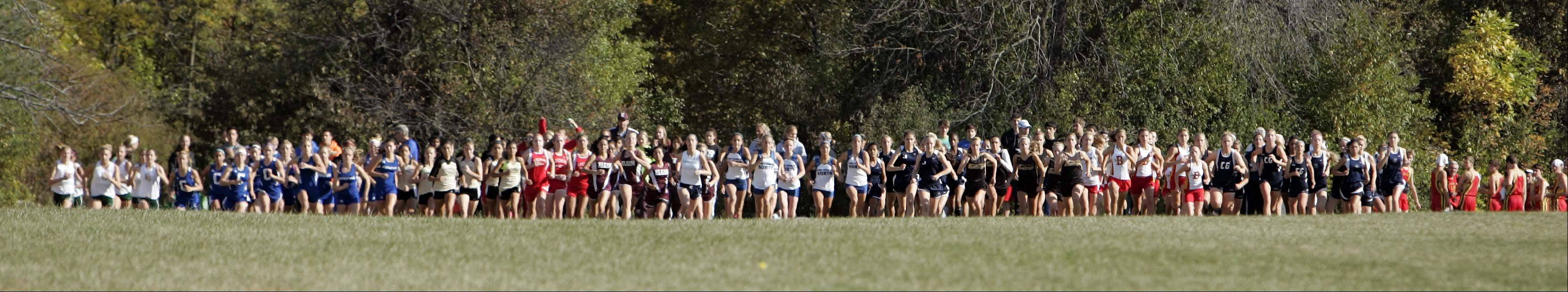 The start of the girls varsity race during the St. Charles North Cross County Invite Saturday September 29, 2012 at LeRoy Oakes in St. Charles.