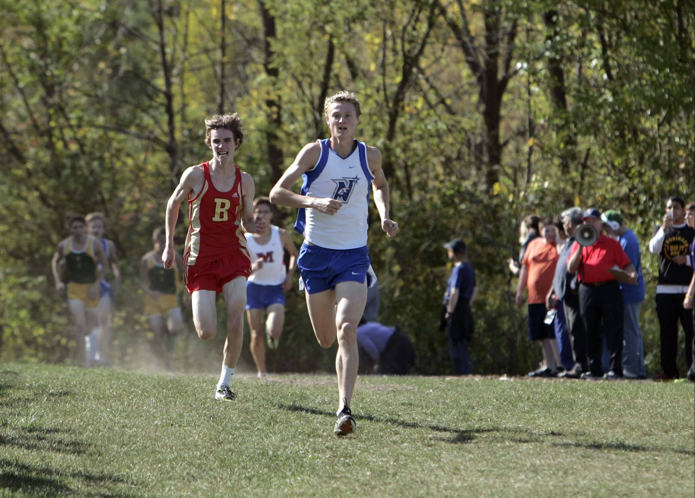 Batavia's Chris Orlow and St. Charles North's Spencer Gray finish fifth and sixth, respectively, at the St. Charles North invitational Saturday at LeRoy Oakes in St. Charles.