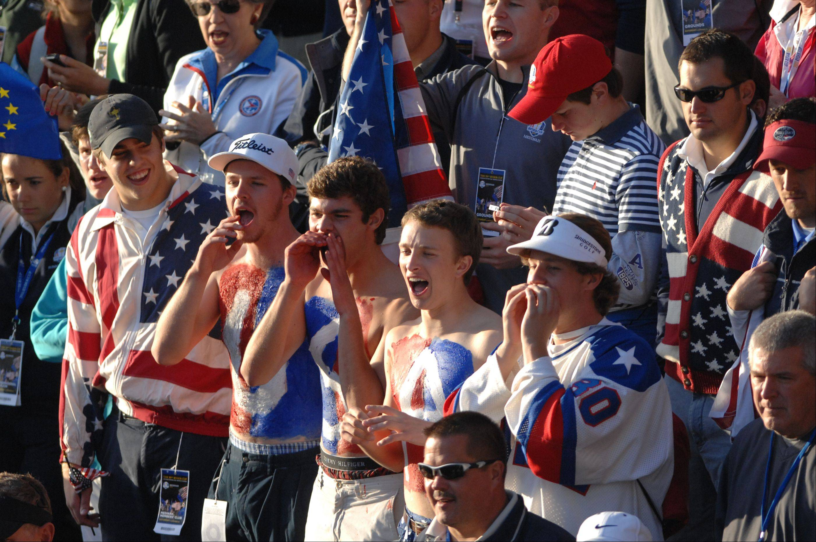 Team USA fans show their support at the first tee on day two of the 2012 Ryder Cup at Medinah Country Club.