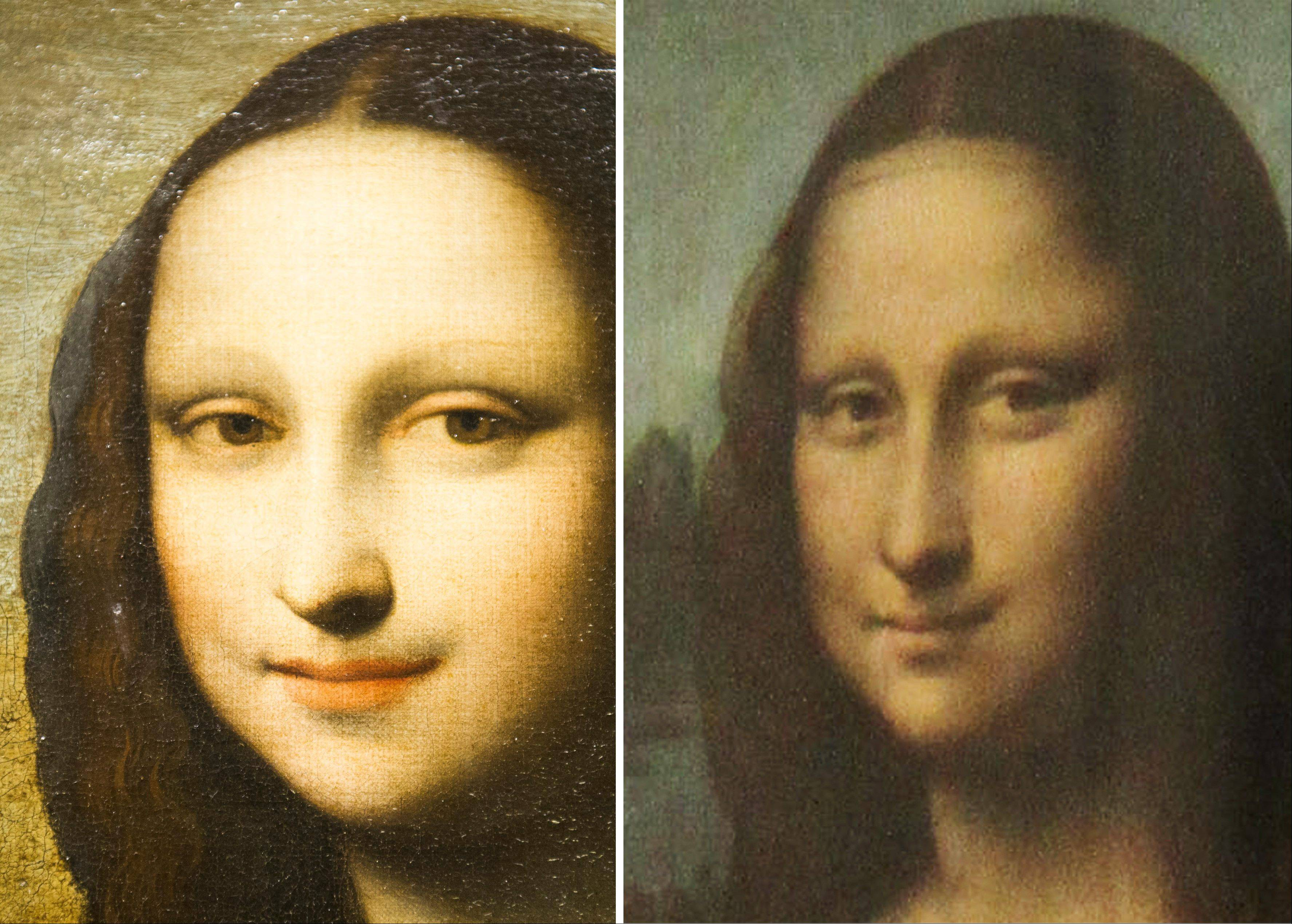This combination of two photos shows on the left a painting attributed to Leonardo da Vinci representing the Mona Lisa and the famous Mona Lisa painting hanging in the Louvre in Paris.