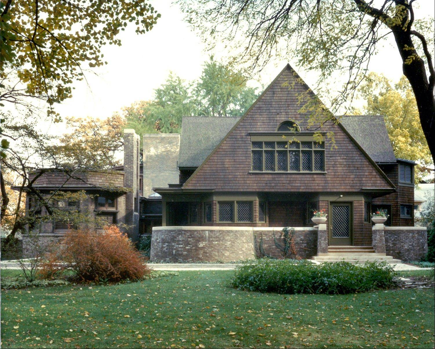 The exterior of the home side of the Frank Lloyd Wright Home and Studio, which was built in 1889 and went through several renovations. This is where the famous architect developed Prairie style architecture.