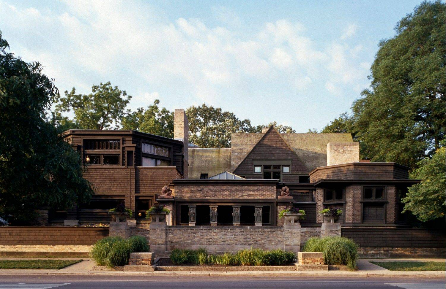 The exterior of the studio side of the Frank Lloyd Wright Home and Studio, which was built in 1889. The studio side of the building accessed Wright's offices and drafting studio.