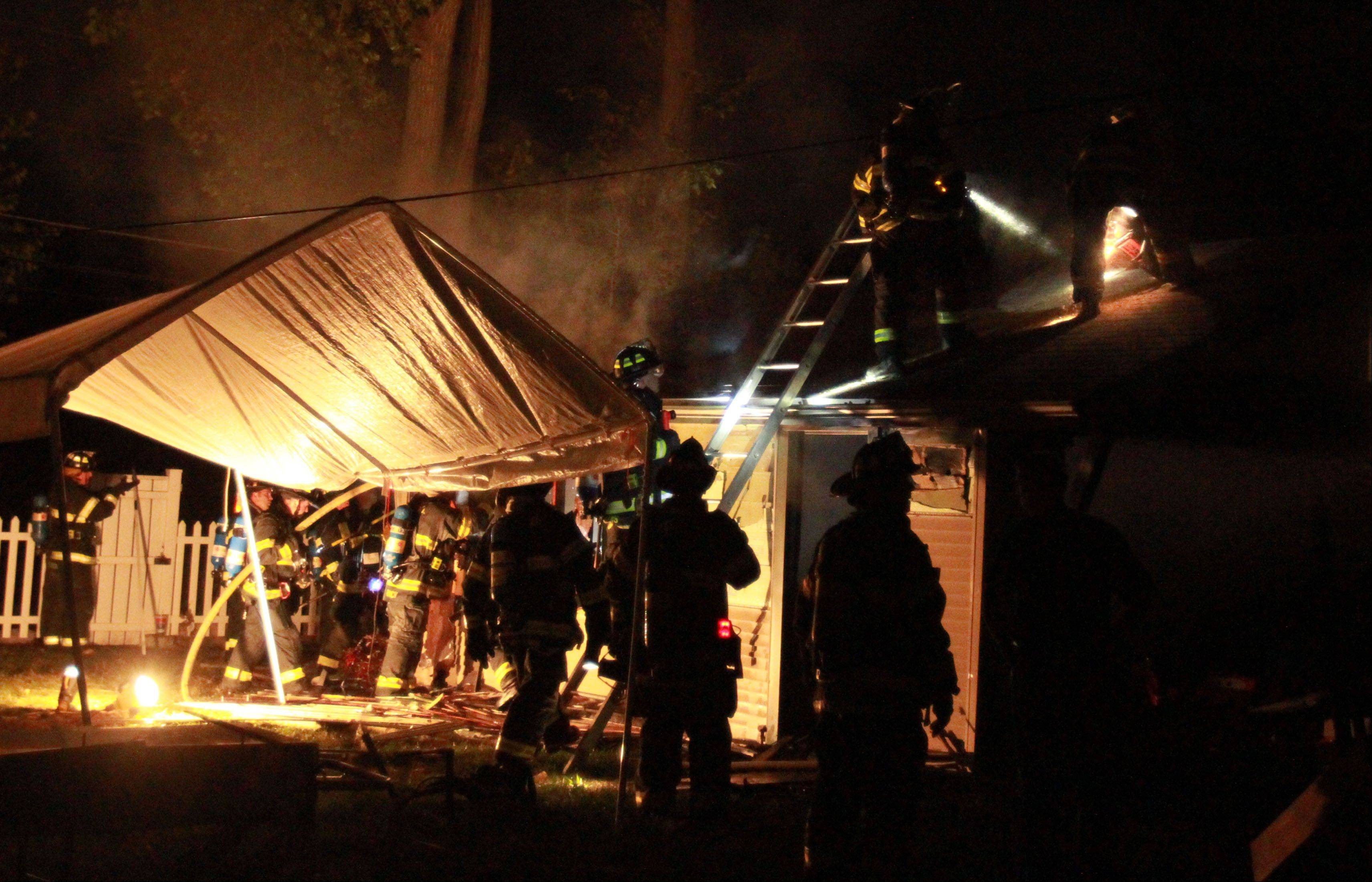 No injuries in an unattached garage fire on Cumberland Parkway just north of Golf Road in Des Plaines on Sunday.