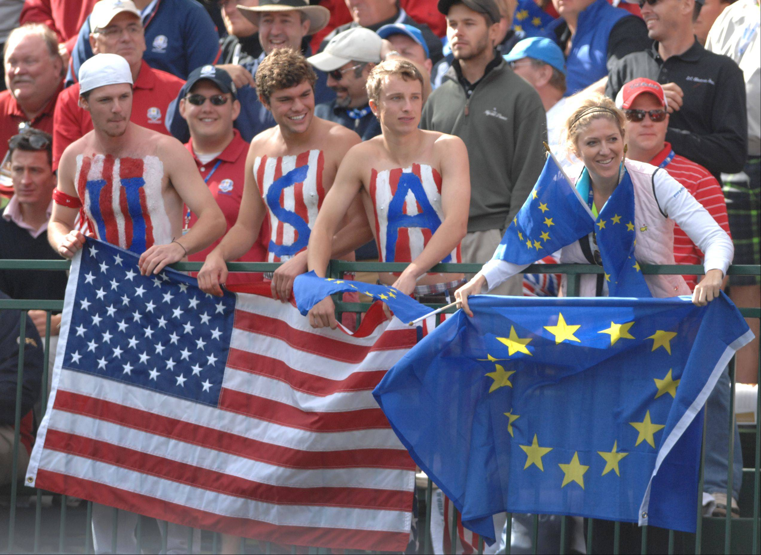 Fans for both the US and European teams were out in force at the first tee Sunday during the final day of the 2012 Ryder Cup at Medinah Country Club.
