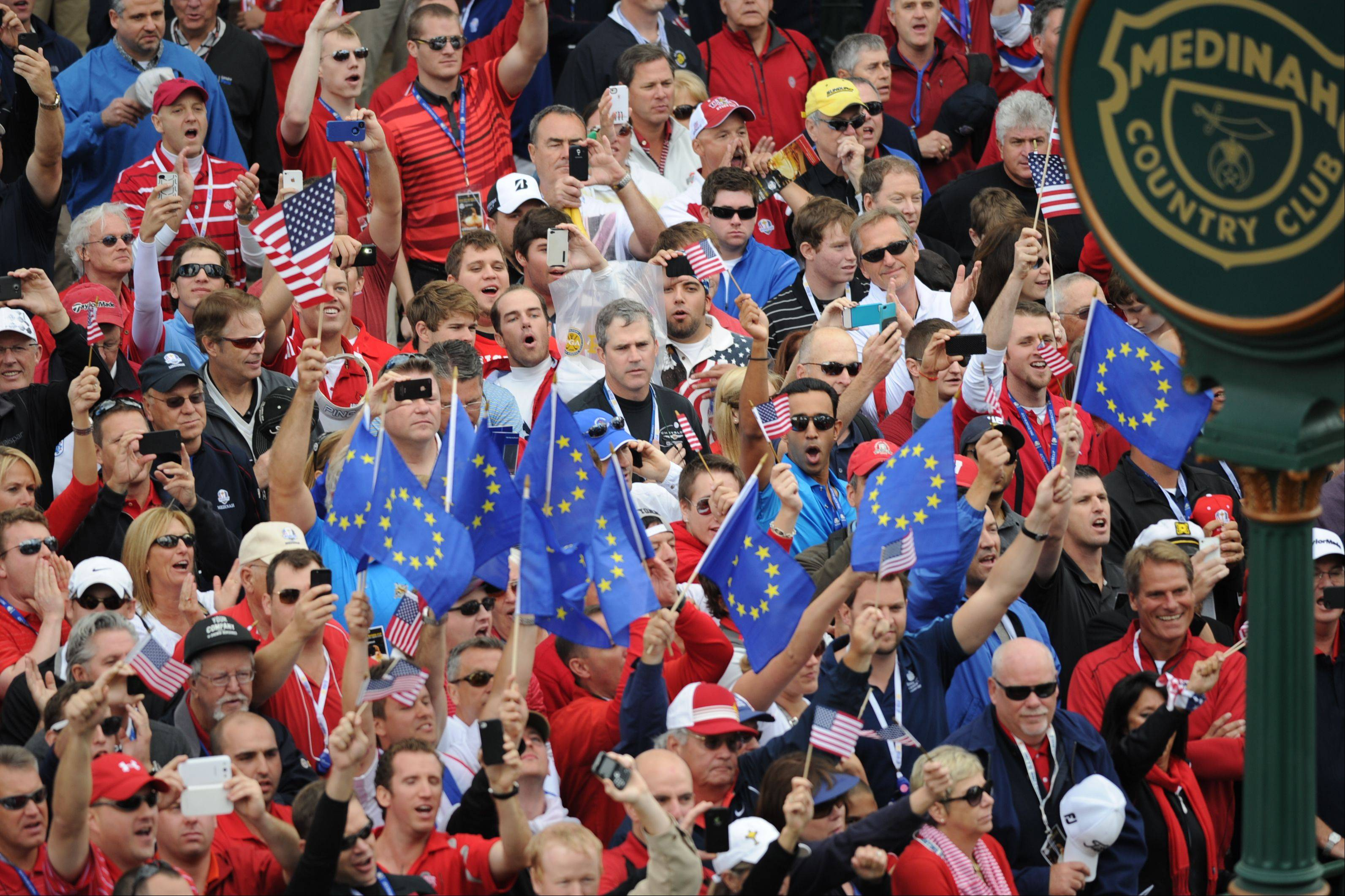 Fans for both the U.S. and European teams were out in force at the first tee Sunday during the final day of the 2012 Ryder Cup at Medinah Country Club.