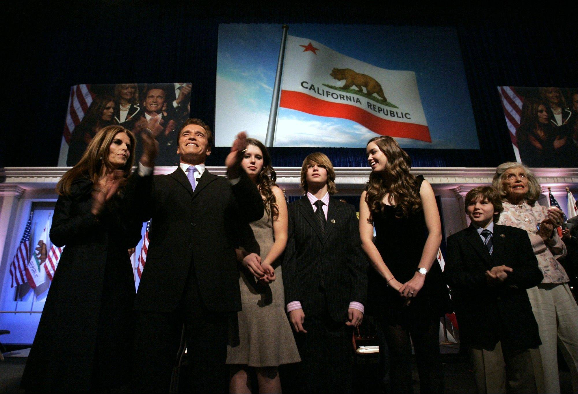 "In this Jan. 5, 2007 file photo, Gov. Arnold Schwarzenegger is seen with his family, wife Maria Shriver, left, daughter Katherine, third from left, son Patrick, fourth from left, daughter Christina, fifth from left, son Christopher, second from right, and mother-in-law Eunice Shriver, right, following his second inauguration in Sacramento, Calif. In an interview with ""60 minutes"" that is scheduled to air Sunday, Schwarzenegger says the affair he had with longtime housekeeper Mildred Baena, that led to a son, was ""the stupidest thing"", he ever did to Shriver, who filed for divorce last July."