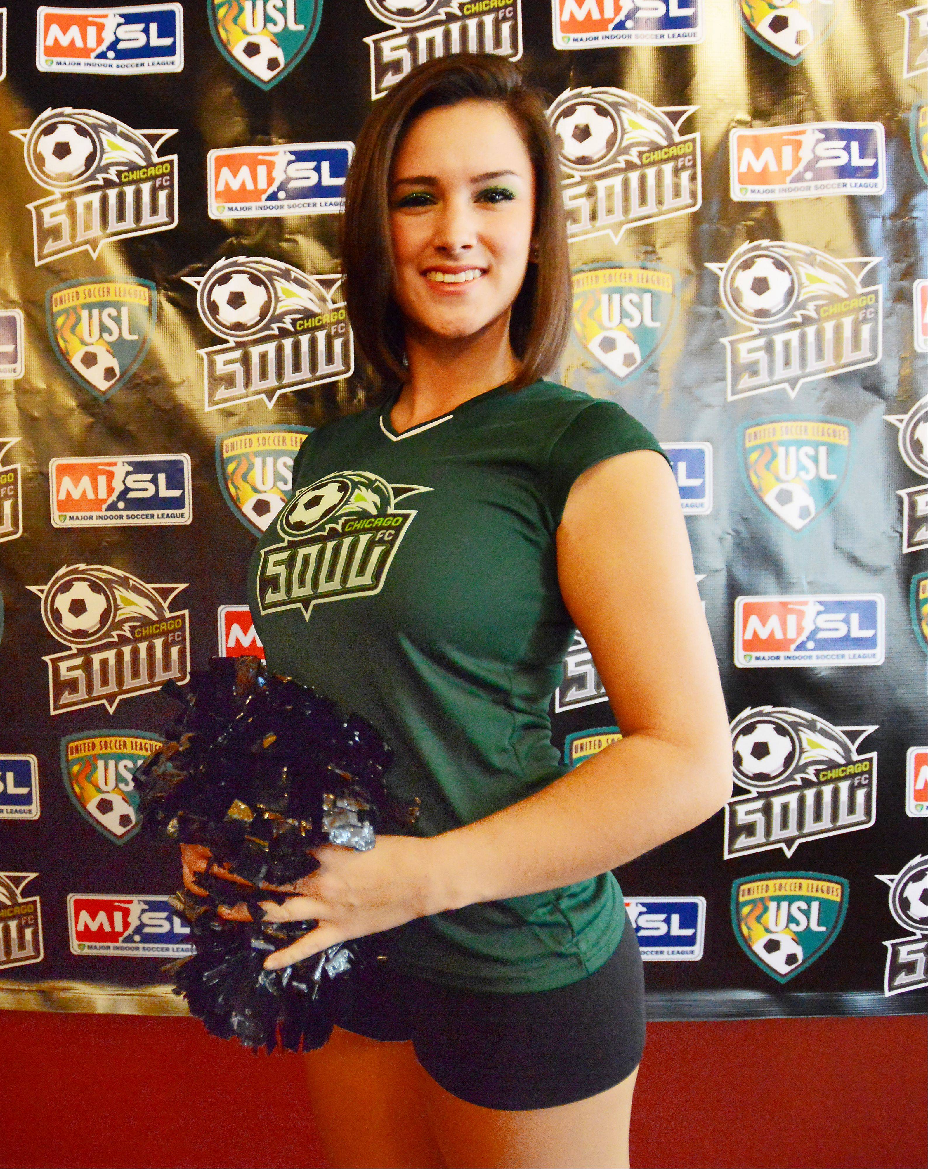 Chicago Soul cheerleader Jackie Sheppard, 23, of Orland Park was introduced at a news conference at Game Works in Schaumburg on Tuesday along with the player for their home opener on December 7th playing at the Sears Centre in Hoffman Estates.