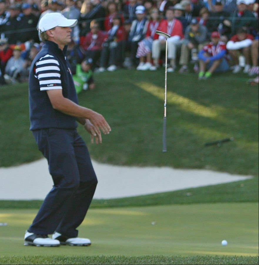 Steve Stricker reacts to missing a putt on the 17th green Sunday. Stricker lost to Germany's Martin Kaymer, whose match point clinched the Ryder Cup for the Europeans.