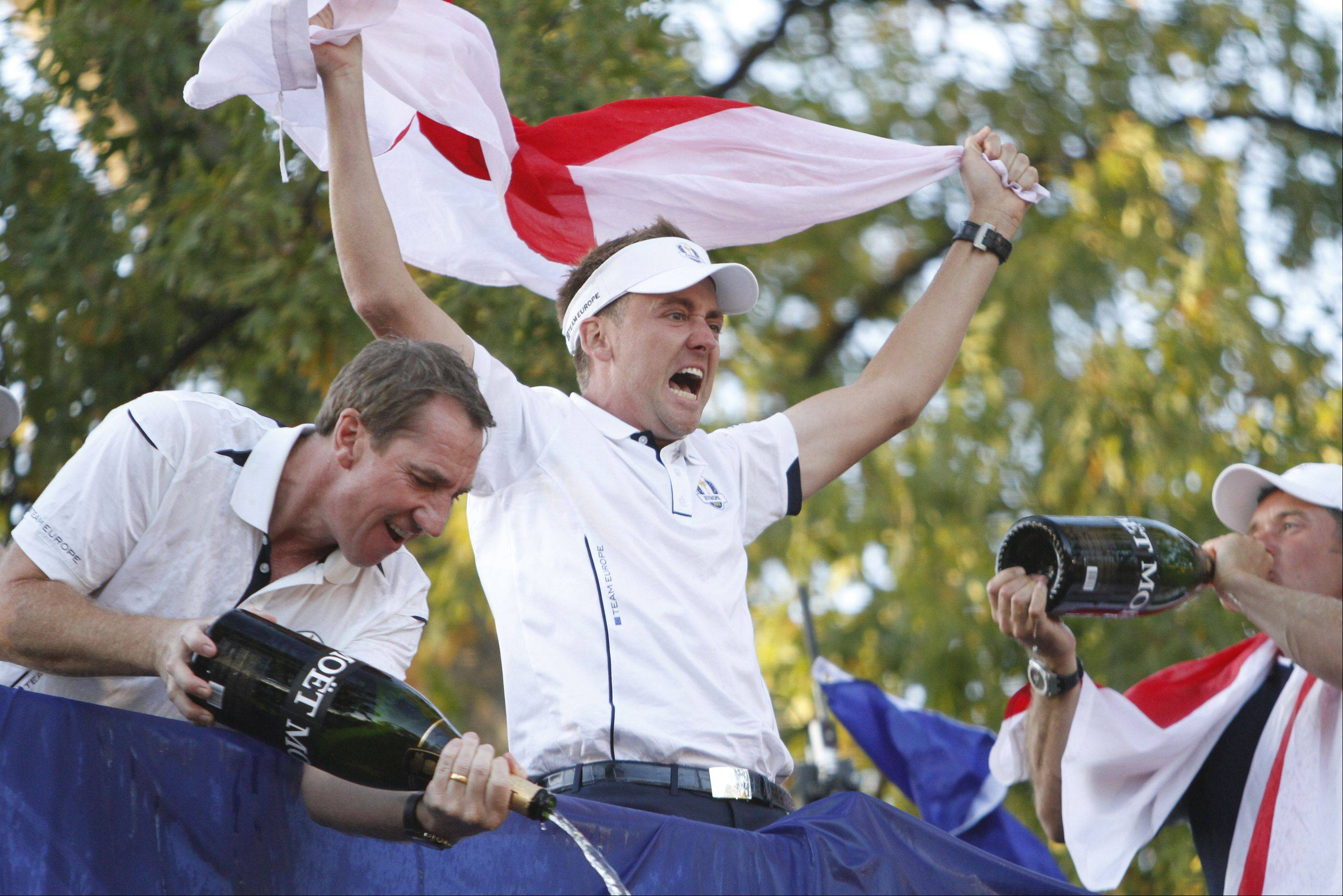 Ian Poulter celebrate team Europe's Ryder Cup victory Sunday during the final day of the 2012 Ryder Cup at Medinah Country Club.