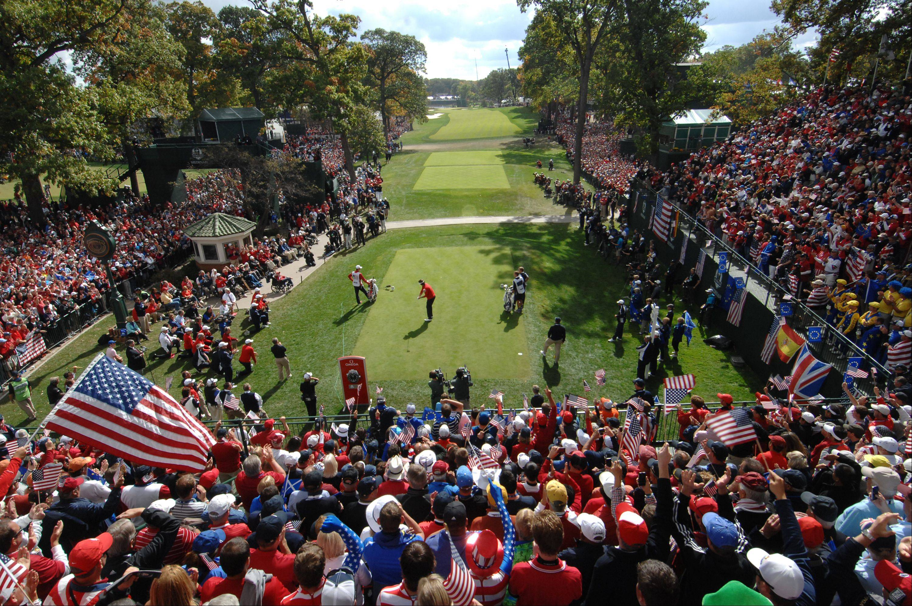Fans for both the US and European teams were out in force at the first tee Sunday during the final day of the 2012 Ryder Cup at Medinah Country Club. Here, Bubba Watson tees off to start the final round of play.