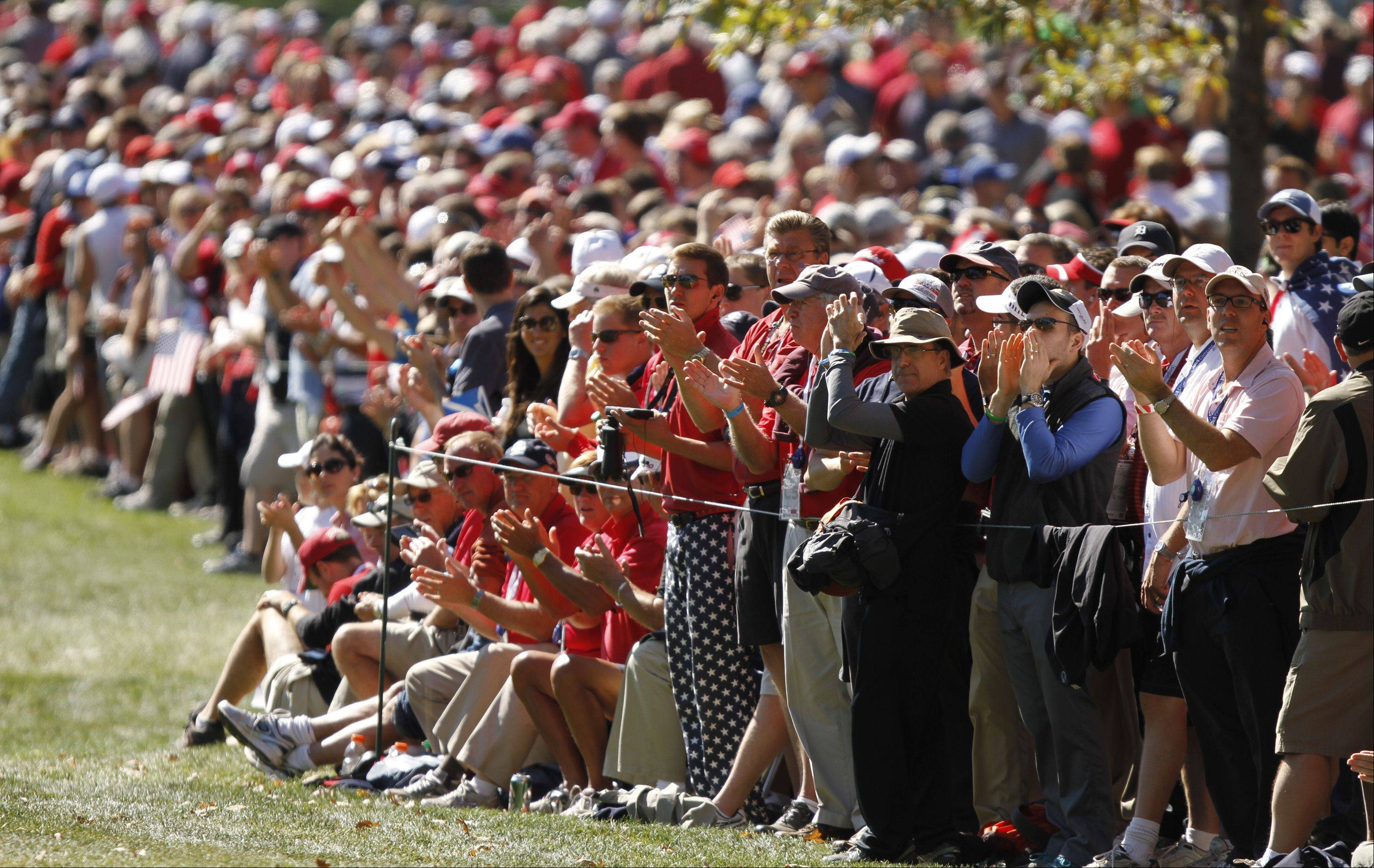 Crowds were jammed along the rope lines all day in Medinah to watch the singles matches of the Ryder Cup.