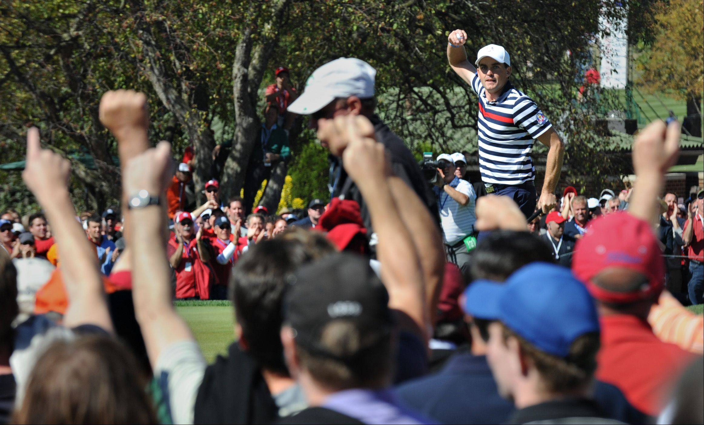 Keegan Bradley gets the crowd fired up Sunday afternoon.