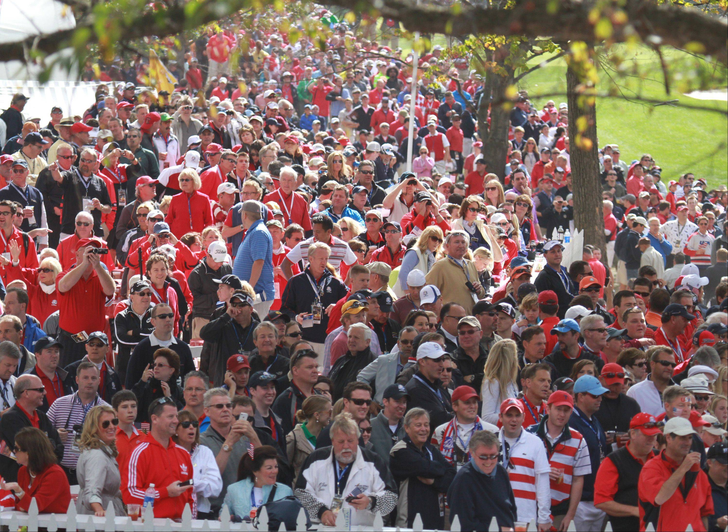 Fans jam the course at Medinah Country Club Sunday to see the conclusion of the 39th Ryder Cup.