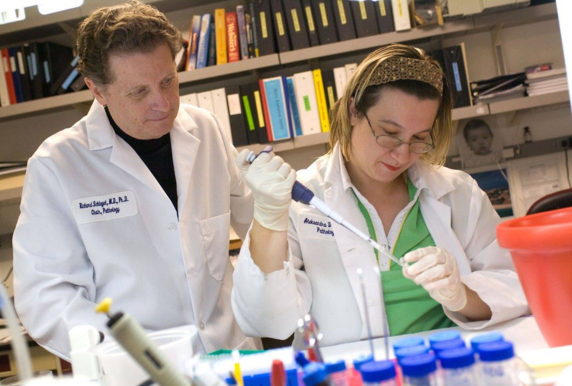 "Dr. Richard Schlegel, left, and research associate Dr. Aleksandra Dakic, of Georgetown University Medical Center in Washington, D.C., work on growing ""mini tumors"" from a patient's cancer in a lab dish, which will then be tested with various drugs to see which works best."