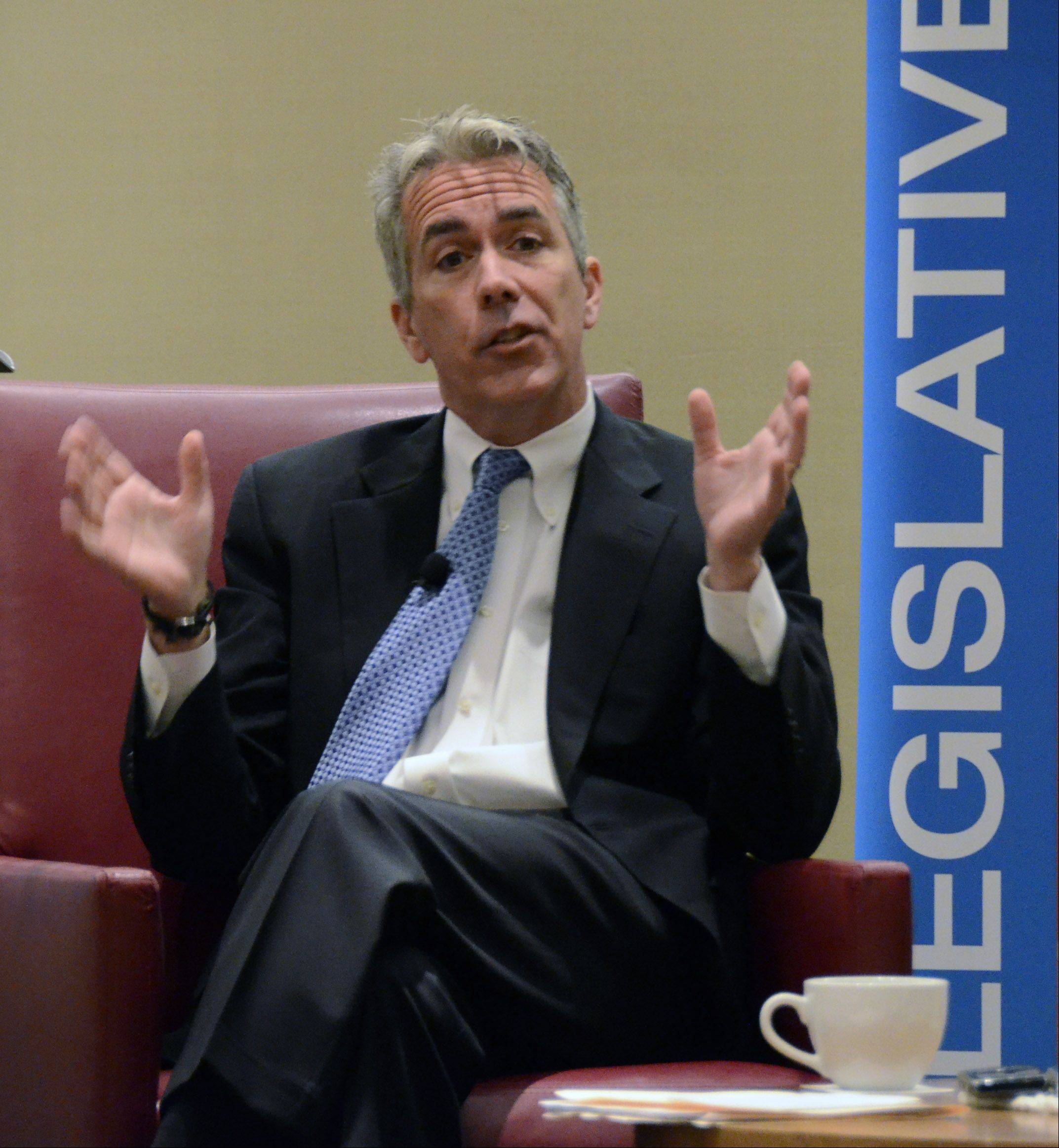 Republican Congressman Joe Walsh of McHenry talks about issues in the upcoming Nov. 6 election. He and Democratic challenger Tammy Duckworth of Hoffman Estates spoke at the Schaumburg Business Association breakfast meeting Monday in Schaumburg.