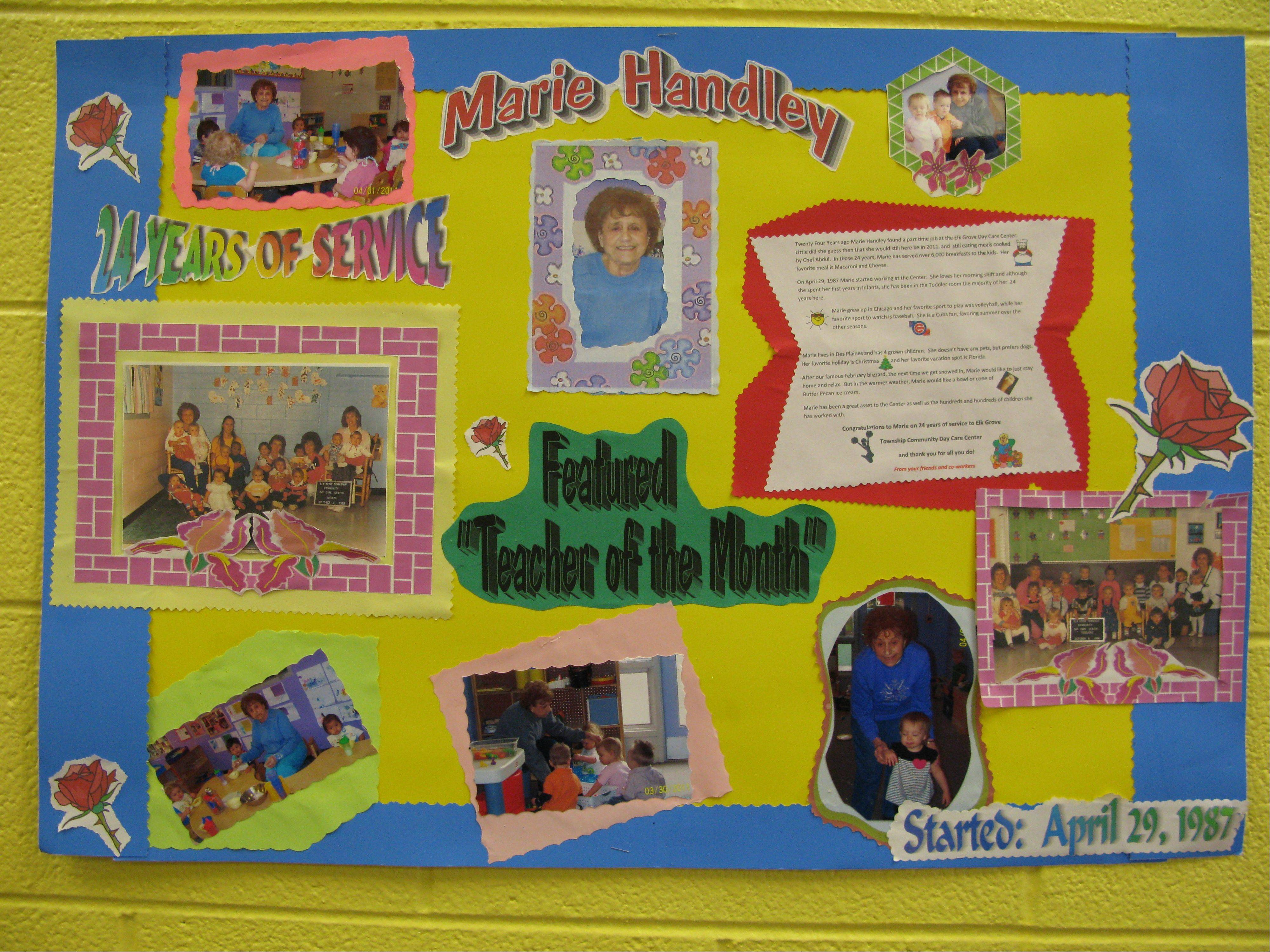 This bulletin board poster honors Marie Handley, who retired Wednesday after working 26 years at the Elk Grove Township Community Day Care Center.