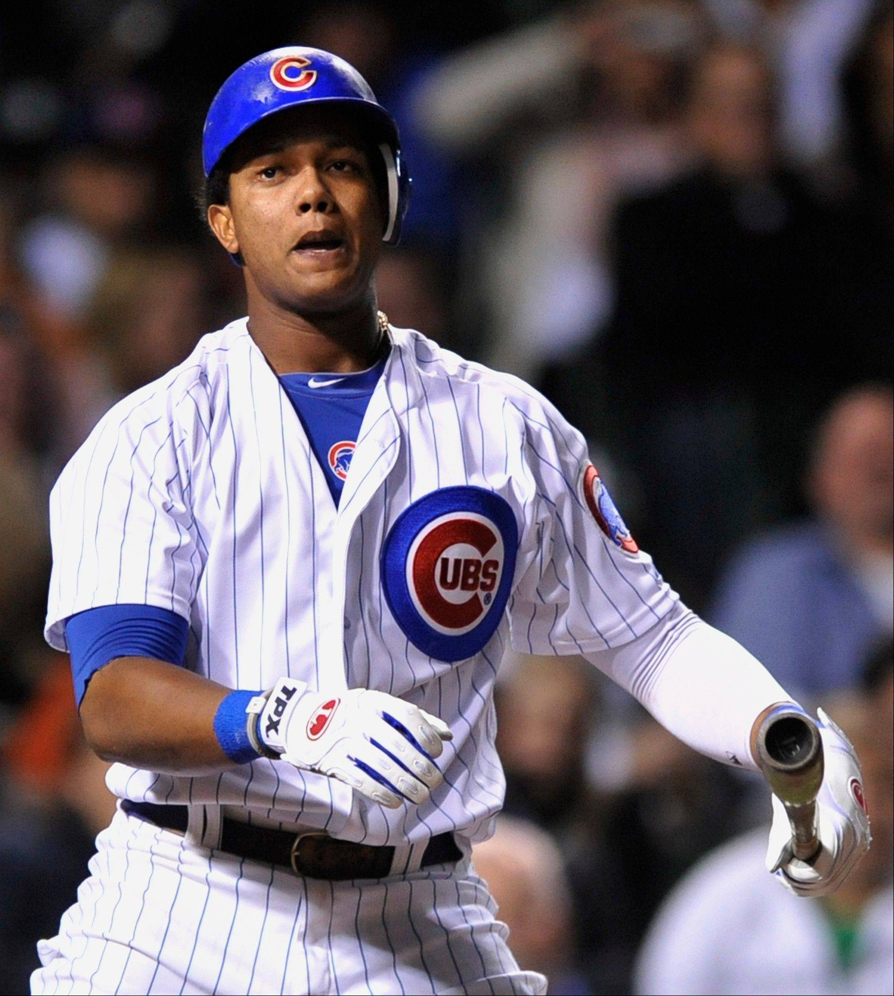 Starlin Castro reacts to striking out in the fourth inning during a baseball game against the Houston Astros in Chicago, Monday, Oct. 1, 2012.