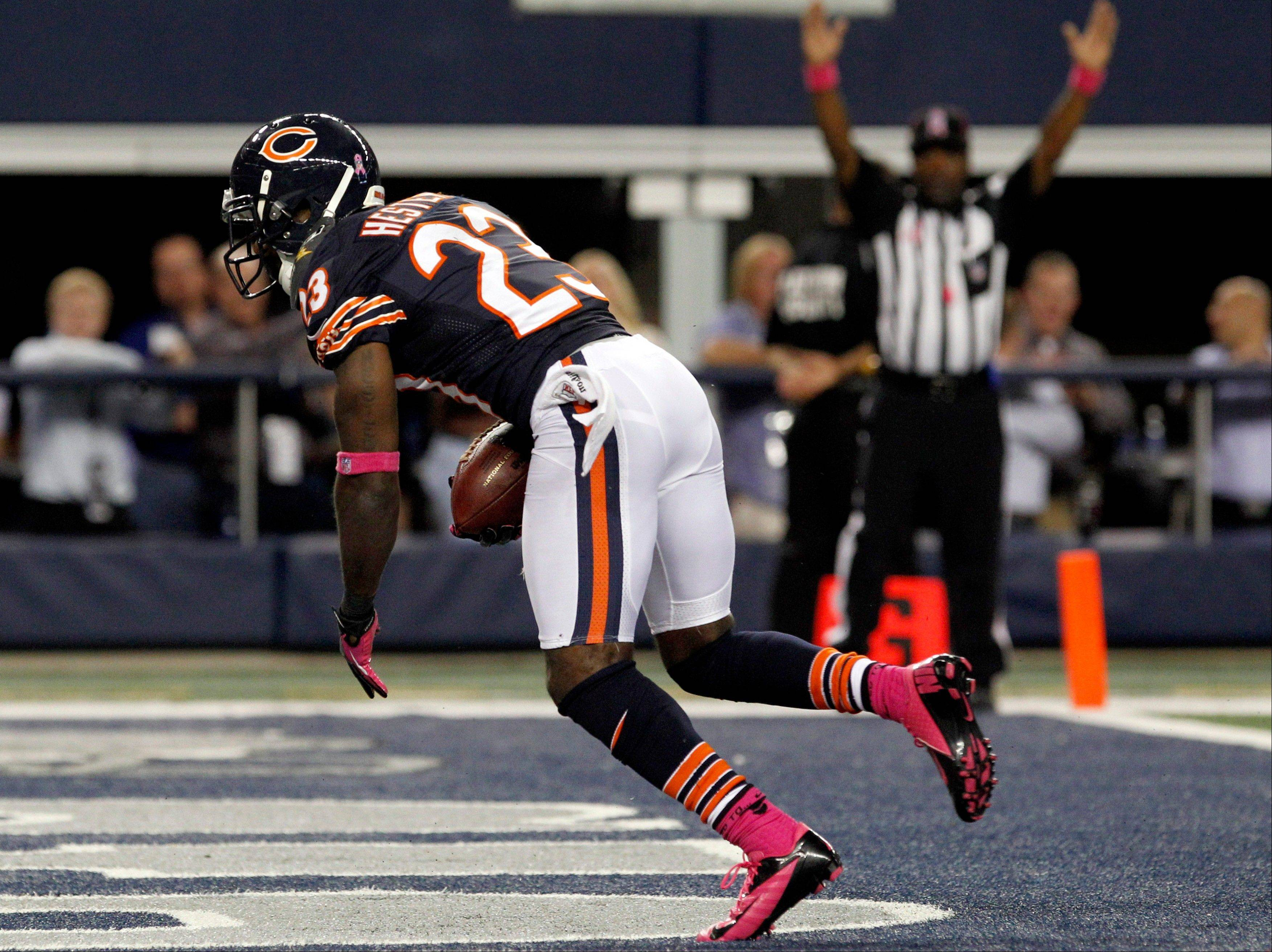Chicago Bears wide receiver Devin Hester makes a touchdown reception against the Dallas Cowboys during the second half.