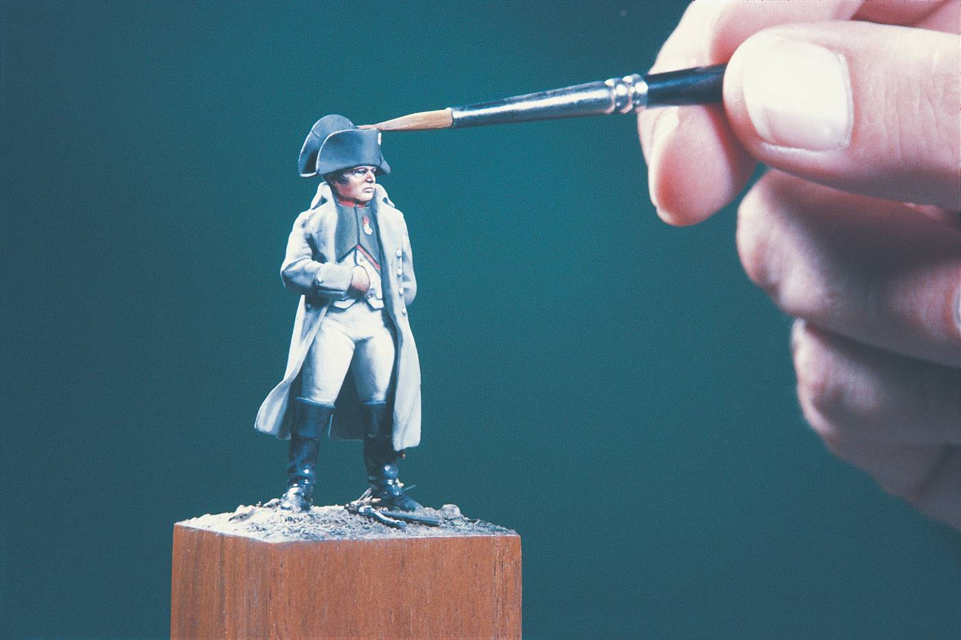 Napoleon figure in miniature showing the fine detail and relative size.