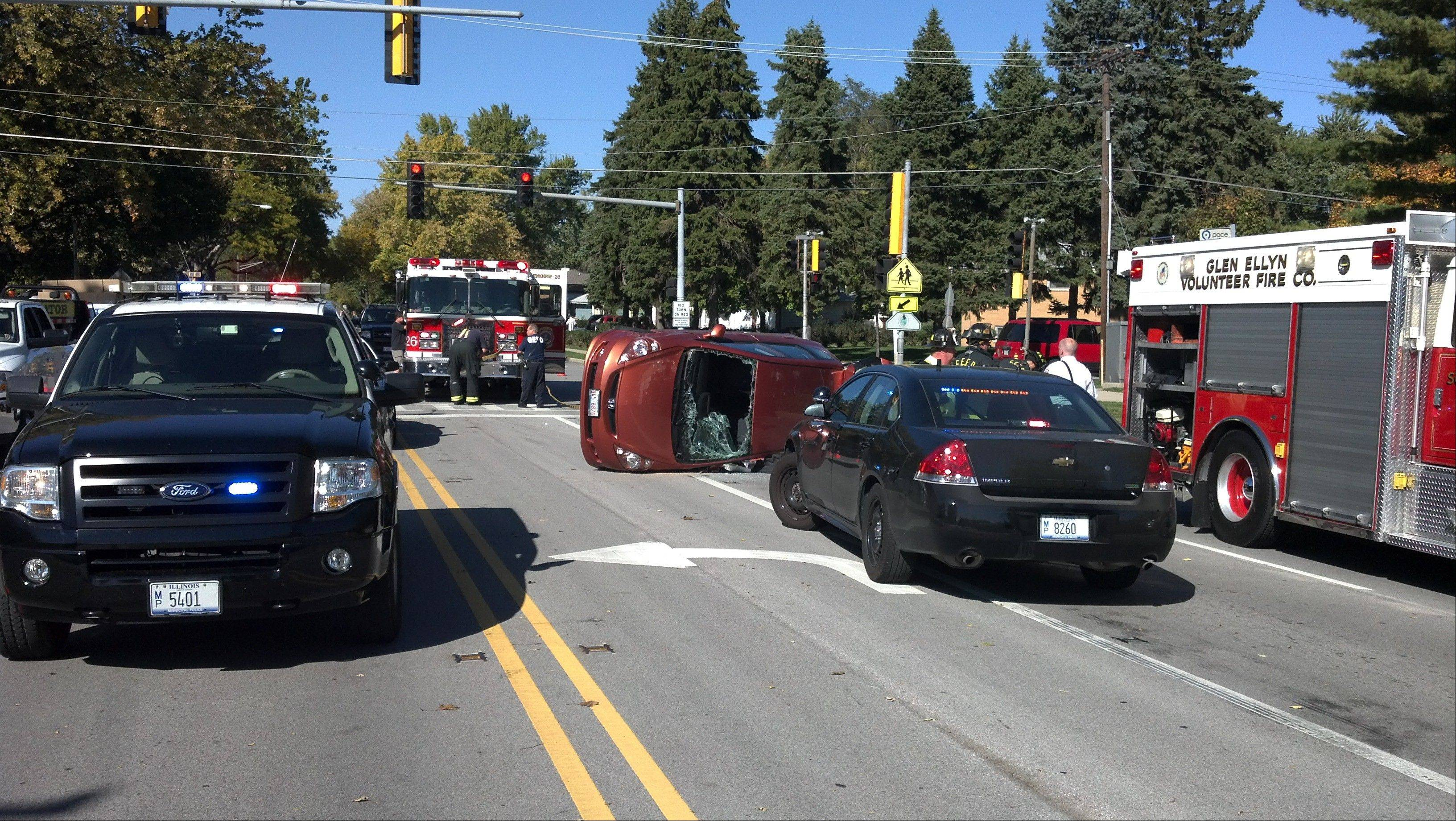 One person was injured in a Tuesday afternoon crash in Glen Ellyn at the intersection of Park Boulevard and Sheehan Avenue.