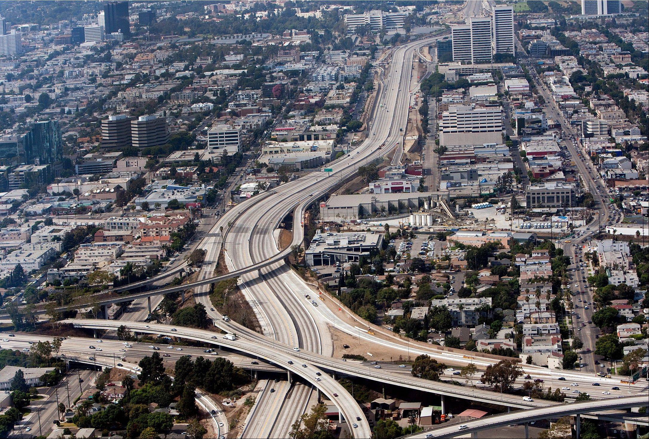 The closed 405 freeway is eerily empty Saturday during Carmageddon II in Los Angeles.