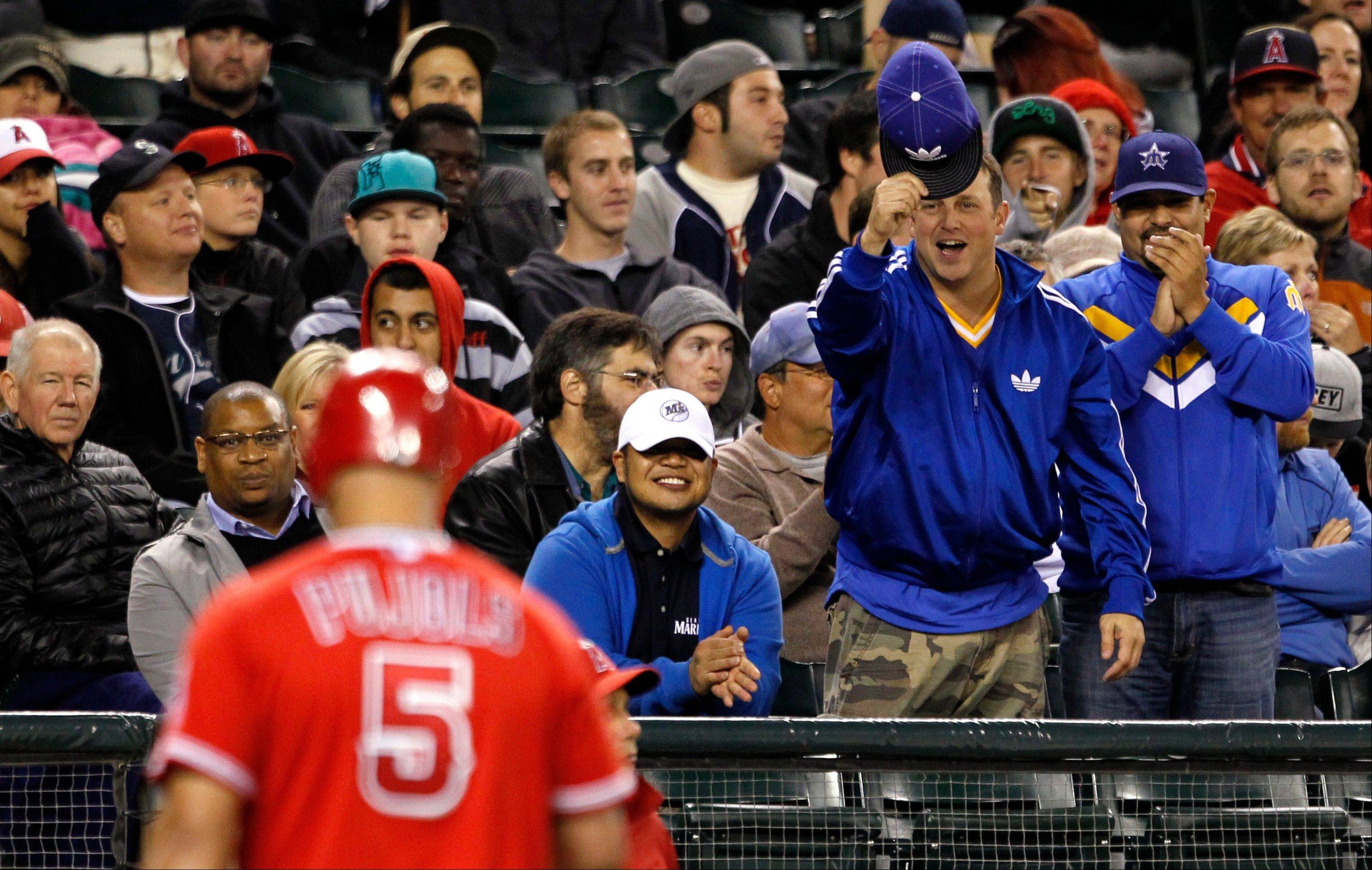 Mariners fans razz the Angels� Albert Pujols after he struck out swinging in the fifth inning Tuesday in Seattle.