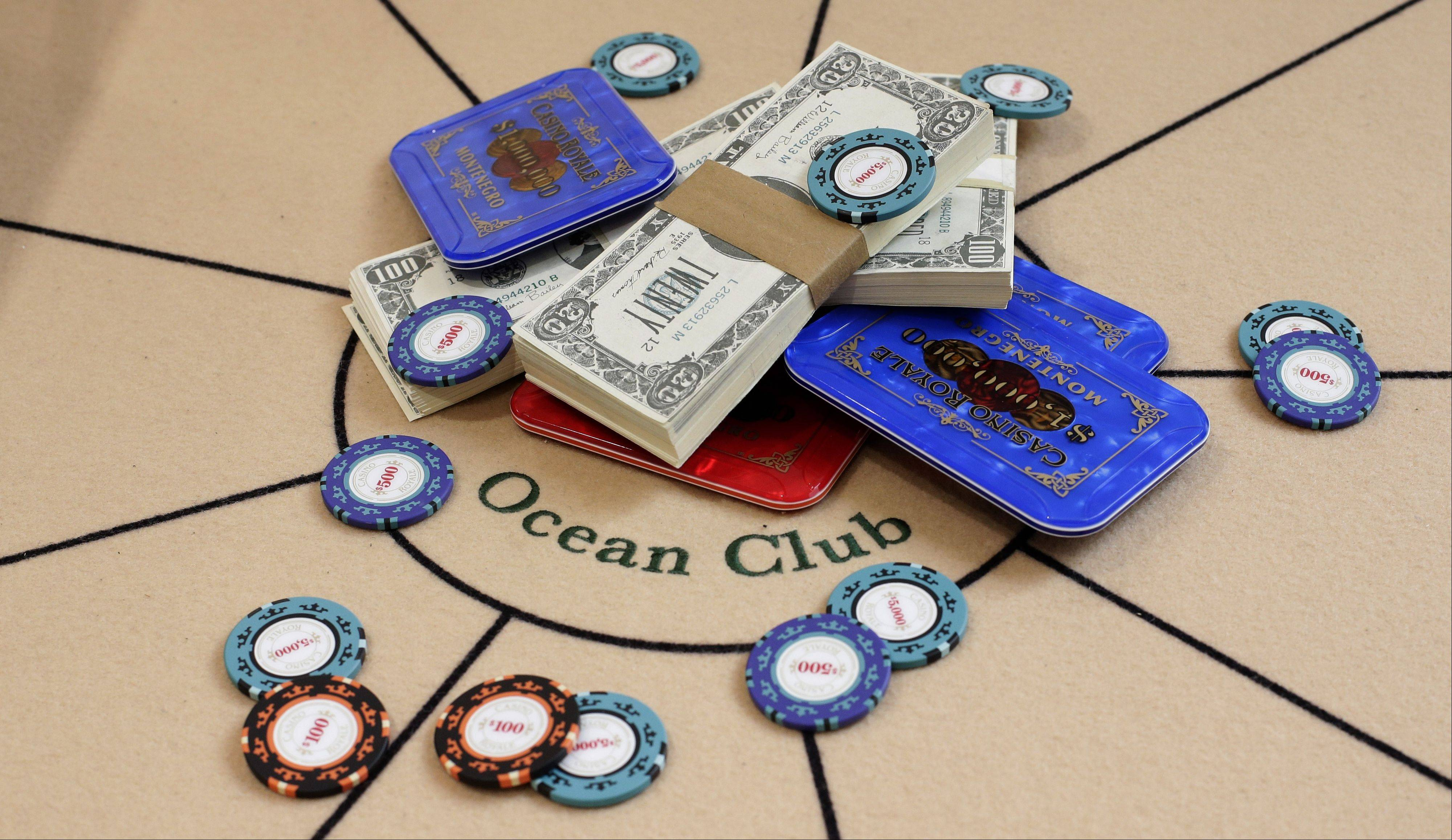 A poker table and gambling props from the One and Only Ocean Club and used in the 2006 version of the movie 'Casino Royale.'