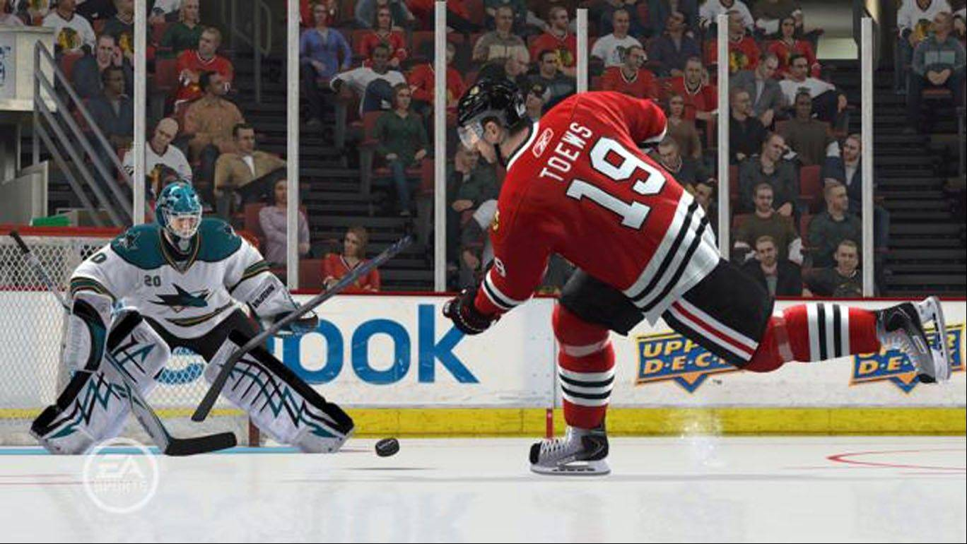"The San Jose Sharks battle the Chicago Blackhawks in ""NHL 13."""