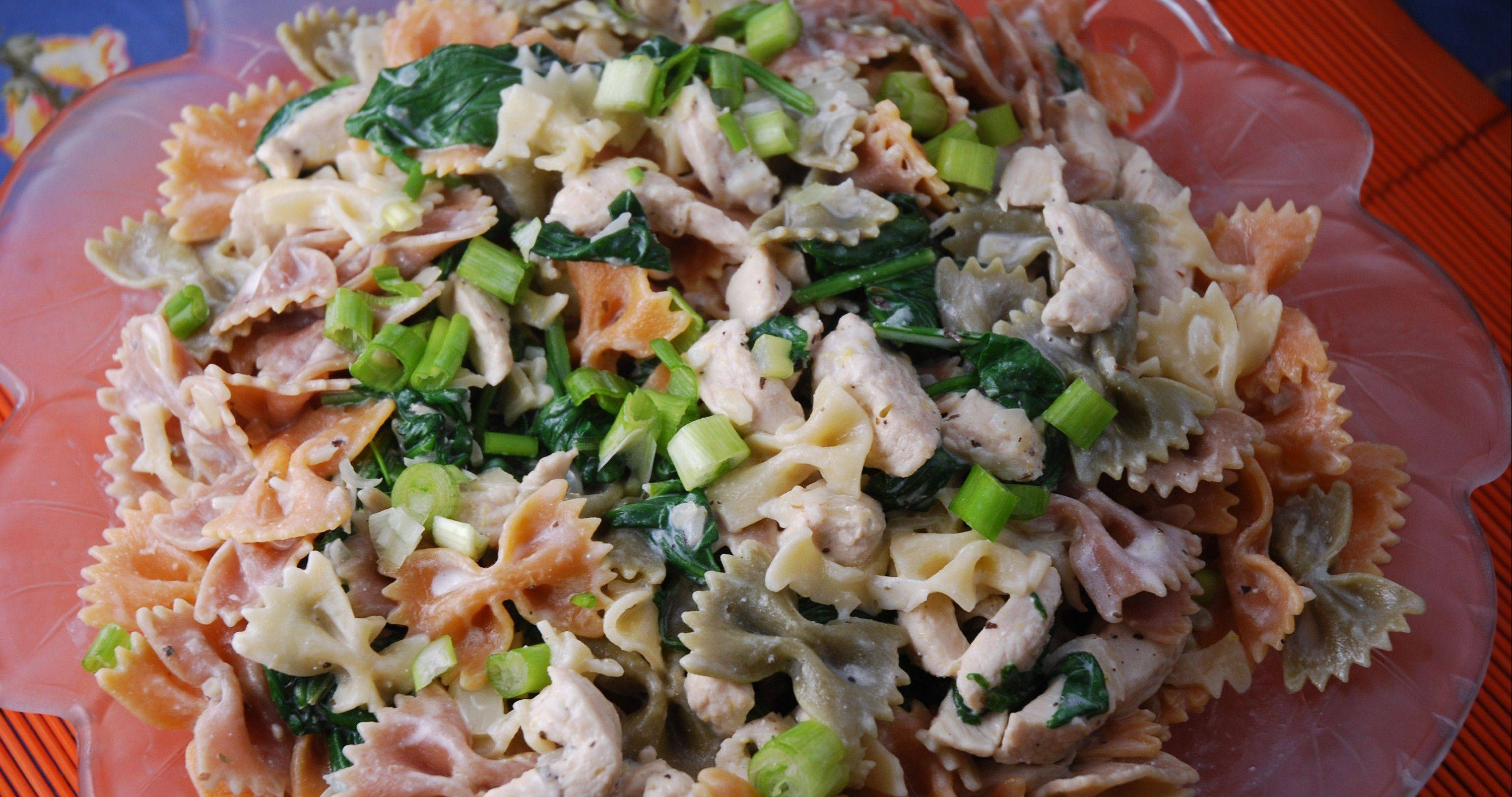 Spinach, Chicken and Chevre Pasta