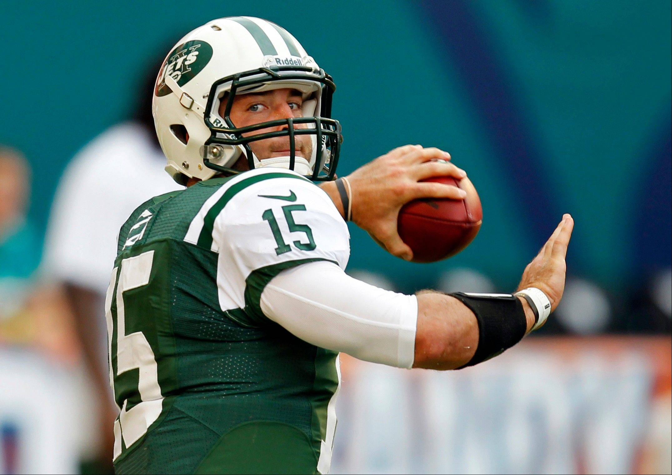 New York Jets quarterback Tim Tebow warms ups before a game earlier this season. New Yorkers wonder if �Tebow Time� should start Monday against the undefeated Houston Texans. With the Jets 2-2 coming off a disheartening 34-0 loss to San Francisco, fans are ready for a change, ready to find out if they got the fierce competitor, as advertised, or a publicity stunt.