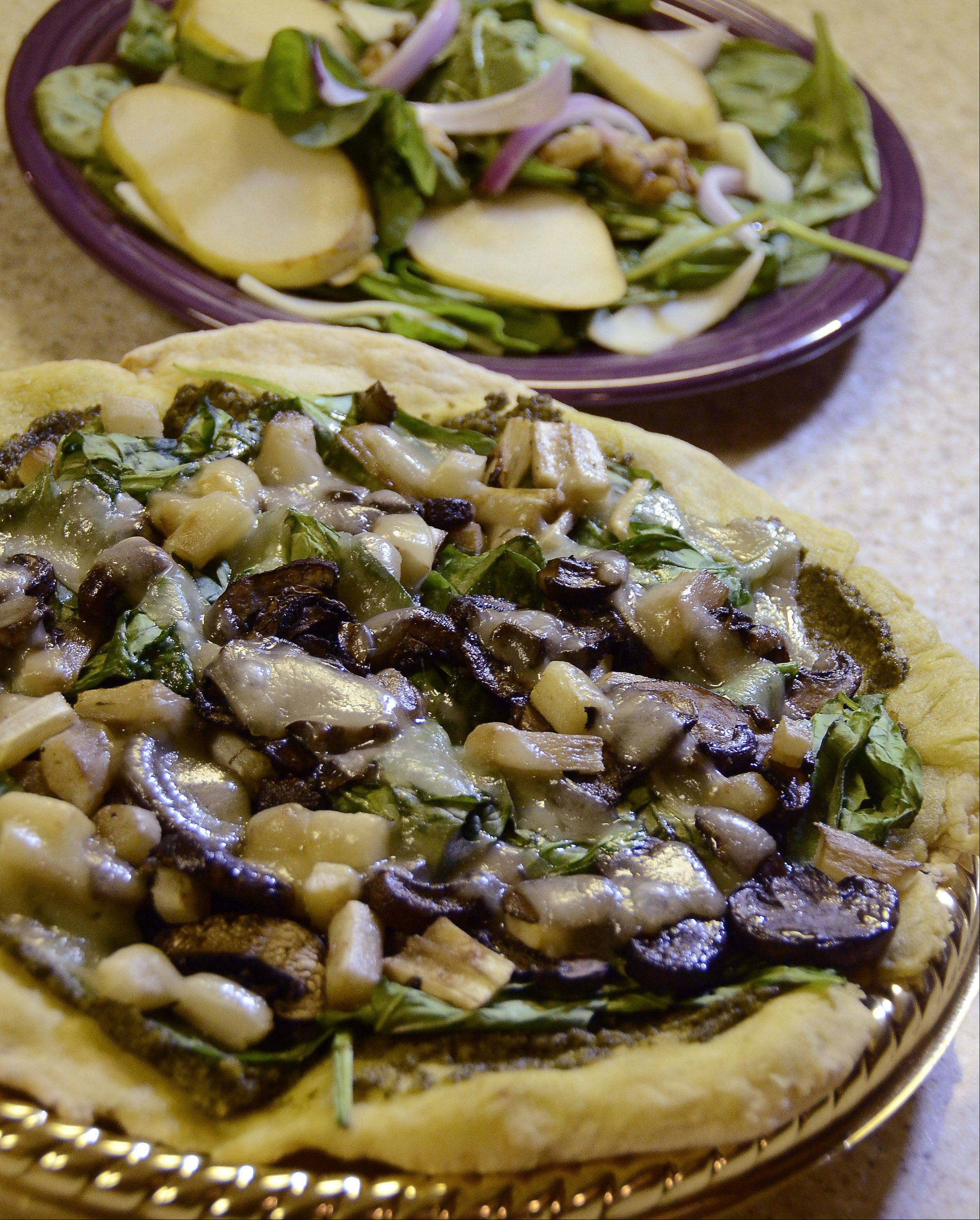 Michelle Abraham's roasted salsify and spinach pizza won the gluten-free pizza dough challenge.