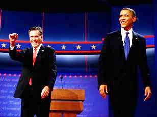 President Barack Obama and Republican presidential candidate and former Massachusetts Gov. Mitt Romney meet on stage Wednesday at the start of the first presidential debate in Denver.