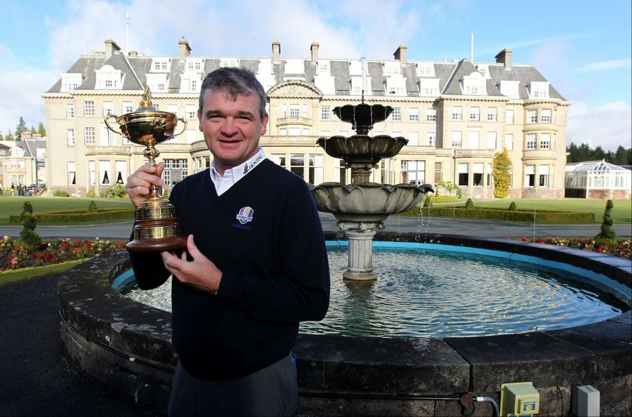 Paul Lawrie Wednesday during the photo call at Gleneagles Golf Club in Perthshire, Scotland. Lawrie handed over the newly retained Ryder Cup trophy to Gleneagles club to mark the countdown to the 2014 Ryder Cup event which is taking place at Gleneagles.