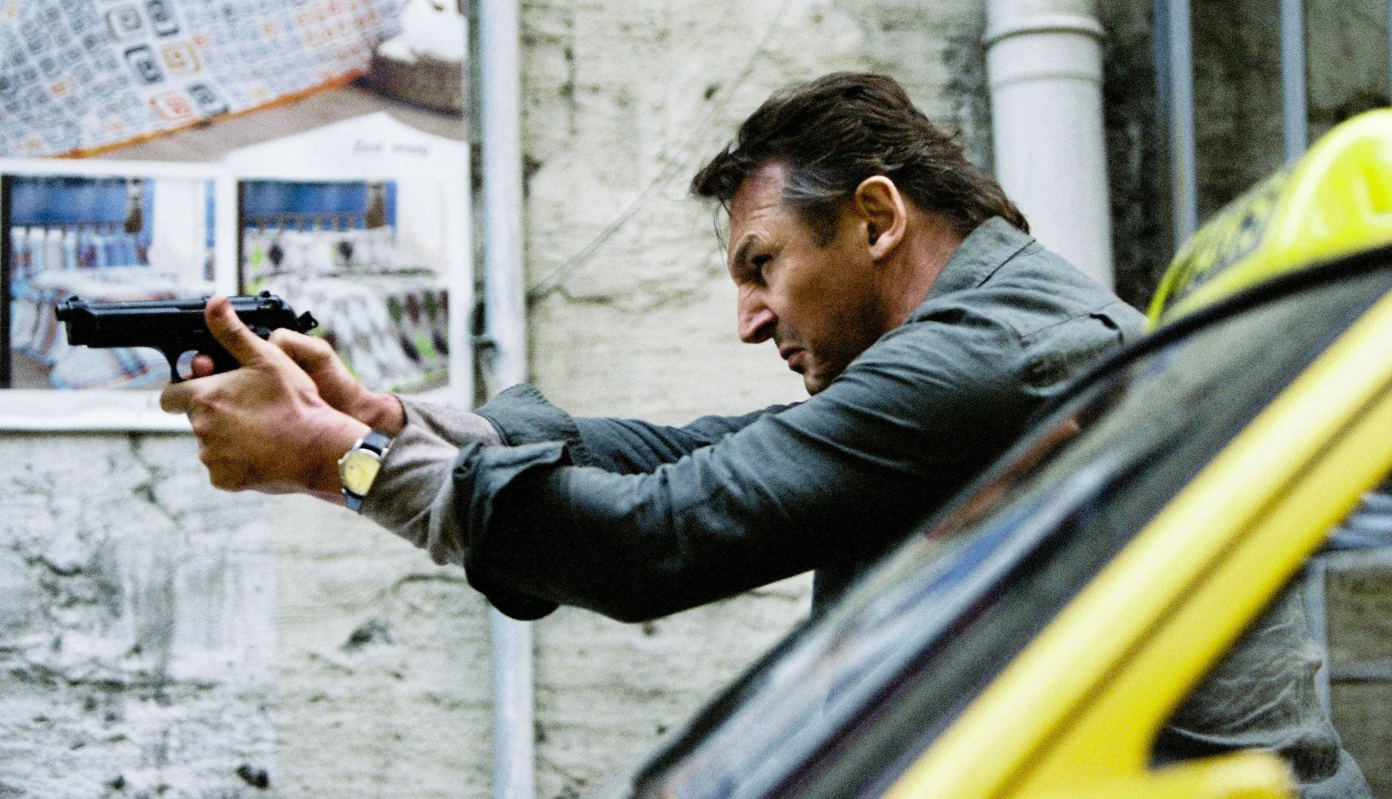 "U.S. agent Bryan Mills (Liam Neeson) takes out some more bad guys in the ridiculously silly action thriller ""Taken 2."""