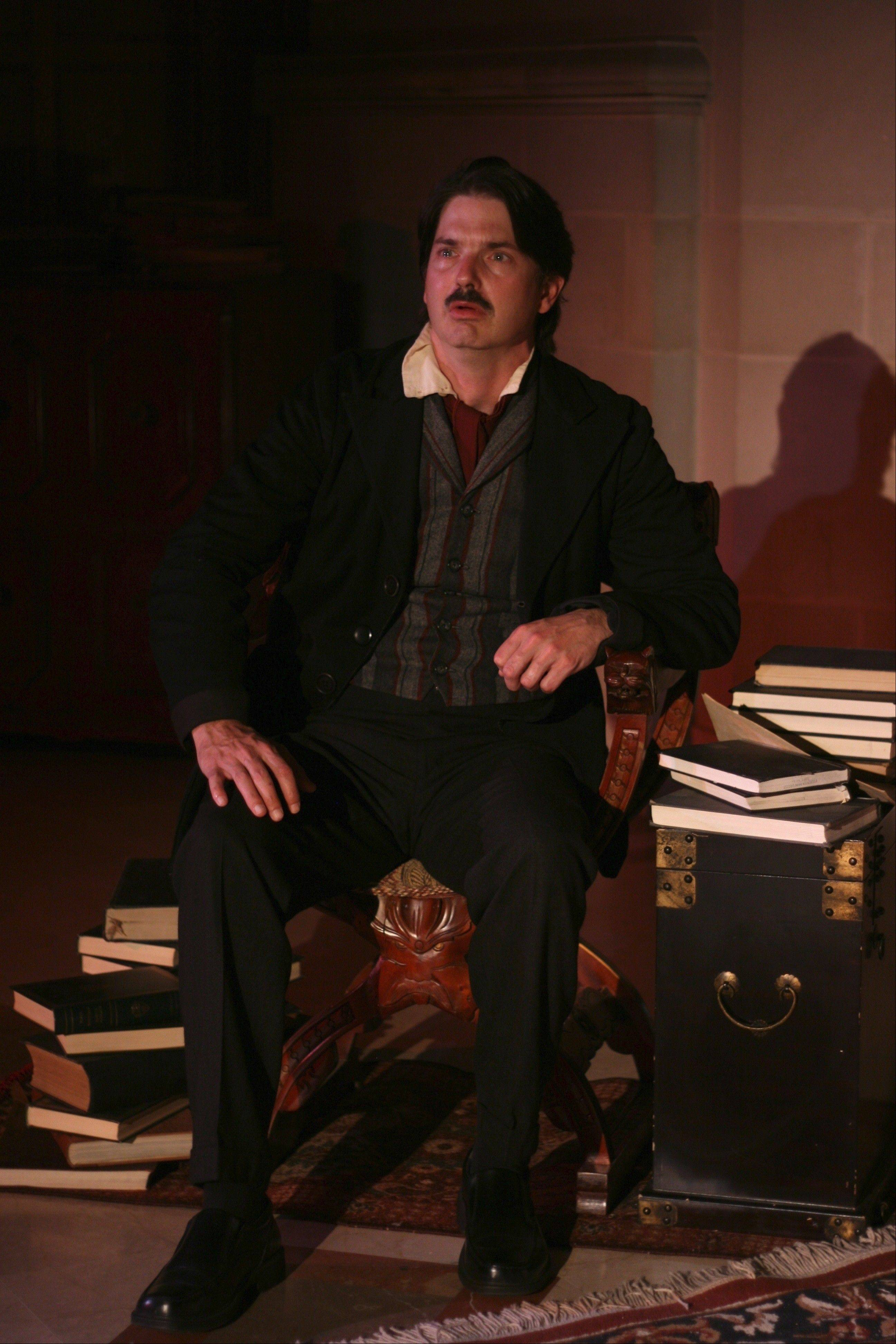 "Christian Gray stars as Edgar Allan Poe in ""The Madness of Edgar Allan Poe: A Love Story,"" at First Folio Theatre at Oak Brook's Mayslake Peabody Estate."