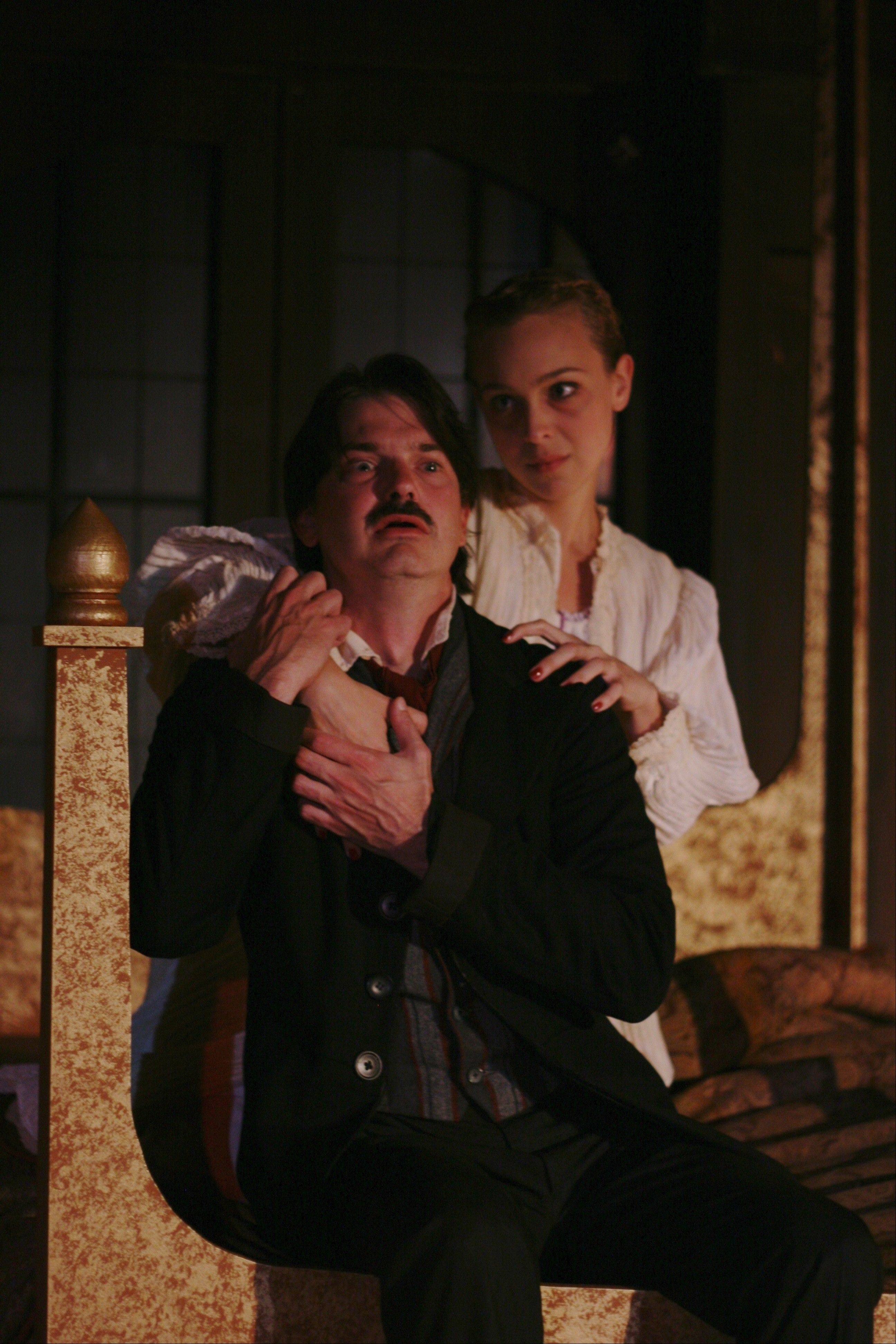 "Christian Gray is Edgar Allan Poe and Annelise Lawson plays Ligeia in ""The Madness of Edgar Allan Poe: A Love Story"" through Nov. 4 at First Folio Theatre in Oak Brook."