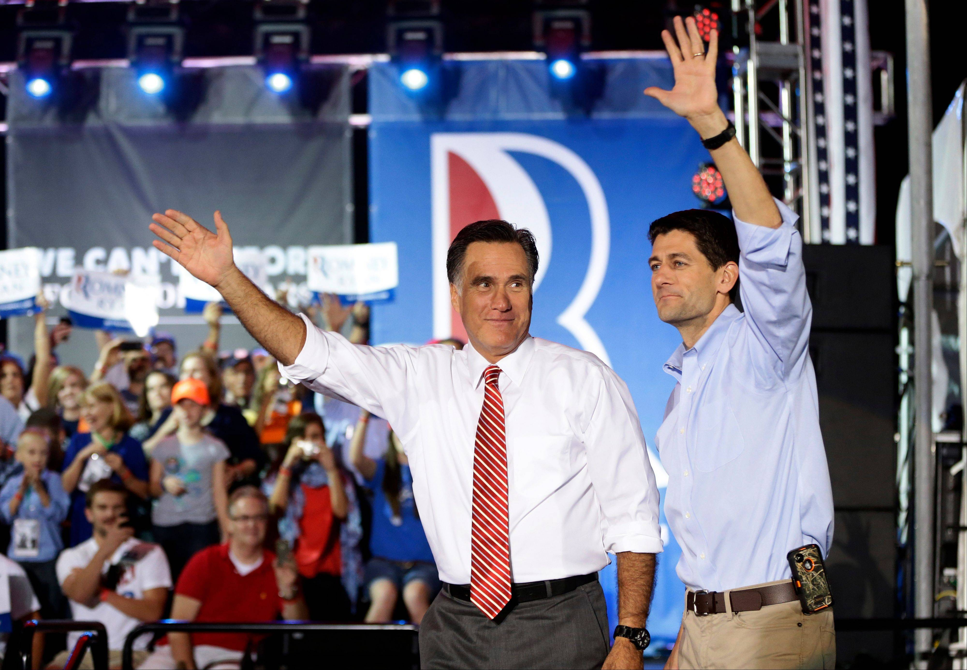Republican presidential candidate and former Massachusetts Gov. Mitt Romney campaigns with running mate Rep. Paul Ryan, a Wisconsin Republican, in Fishersville, Va.