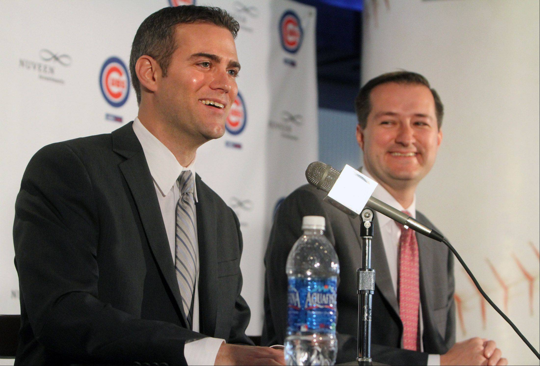 It was all smiles last October when Chicago Cubs Chairman Tom Ricketts, right, introduced Theo Epstein as the team's new president of baseball operations. But that was 101 losses ago.