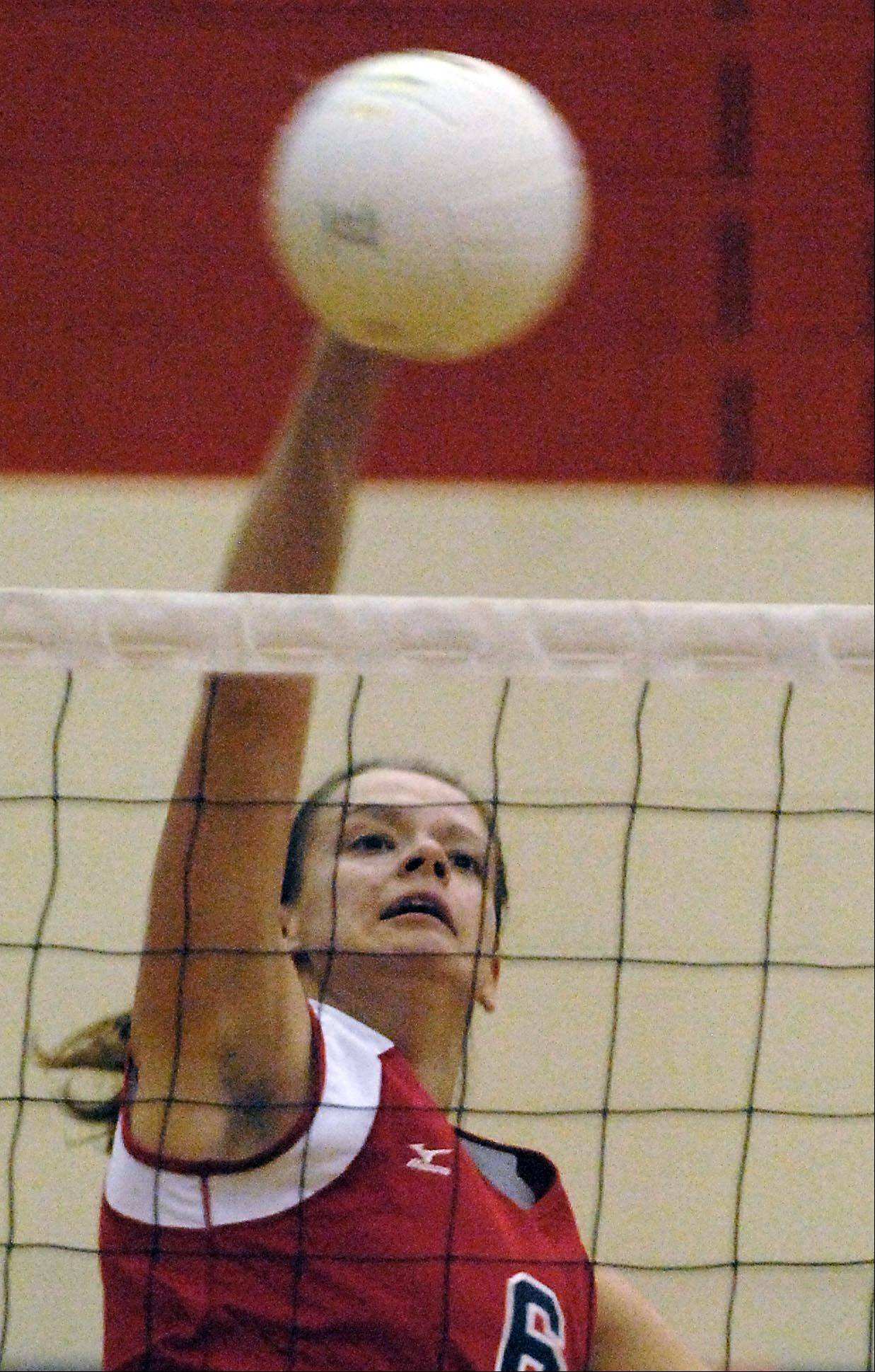 South Elgin's Amanda Nadler spikes the ball against Elgin Thursday in South Elgin.