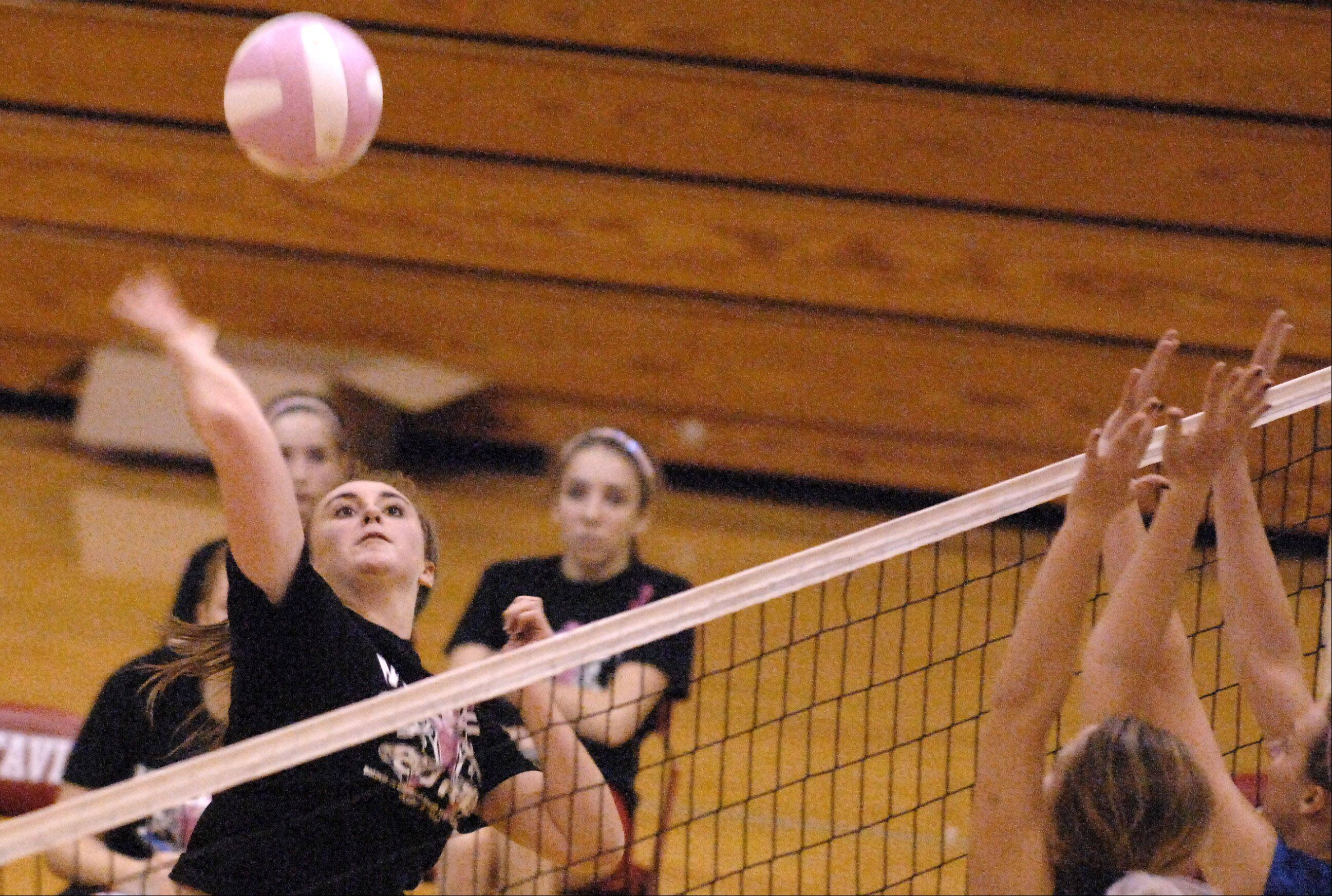 Batavia's Shea Stanley goes for a kill against Glenbard South Thursday at Batavia.