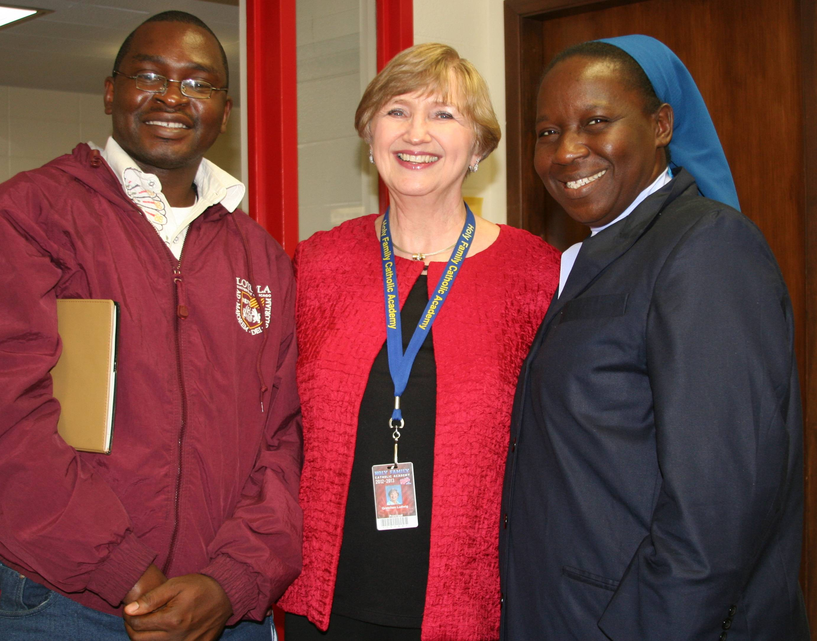 Dr. Gretchen Ludwig, Principal of Holy Family Academy with visiting educators from Nsukka, Nigeria.