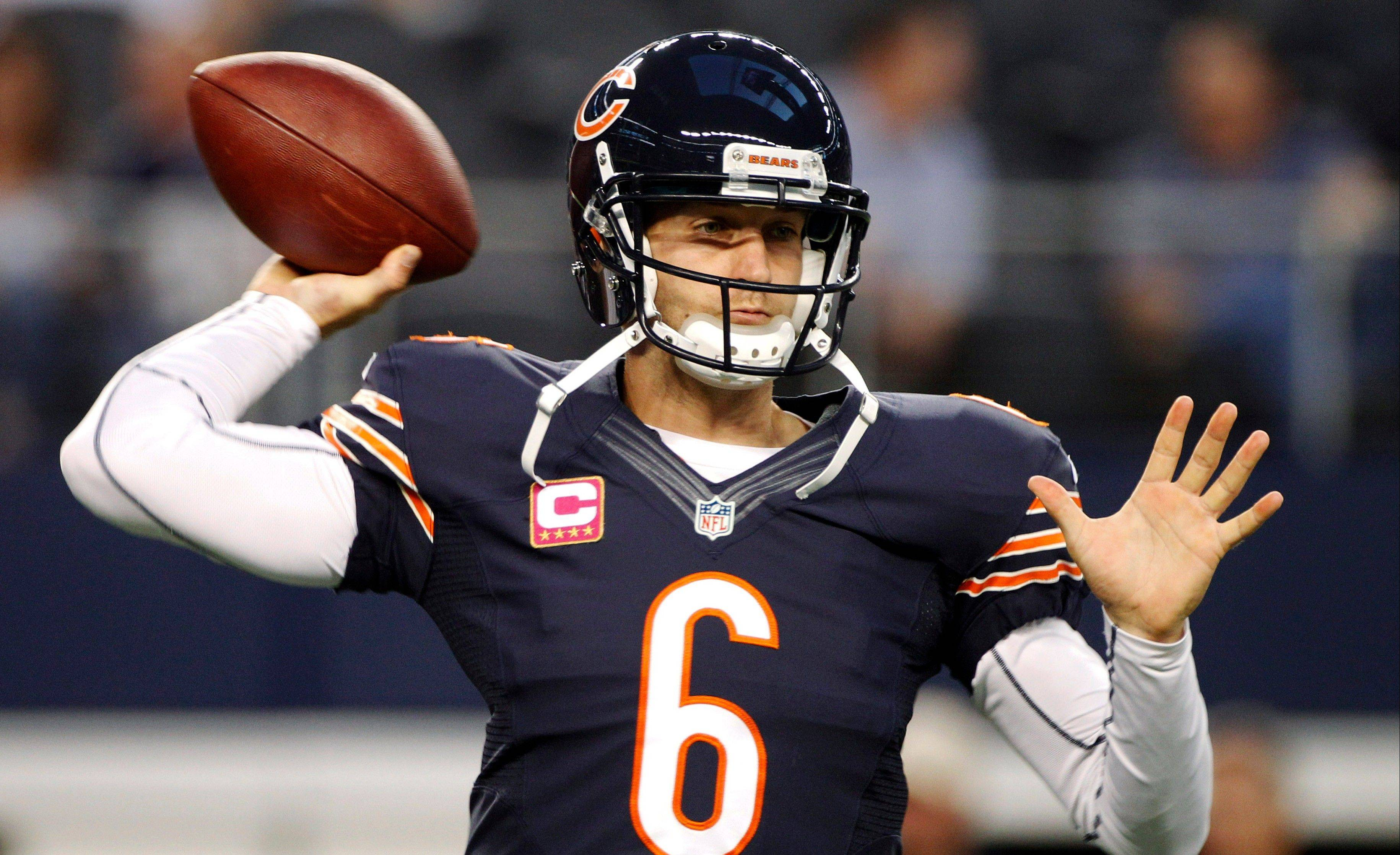 Bears QB Jay Cutler completed 18 of 24 passes against the Cowboys on Monday, including 8 of 8 in the third quarter.