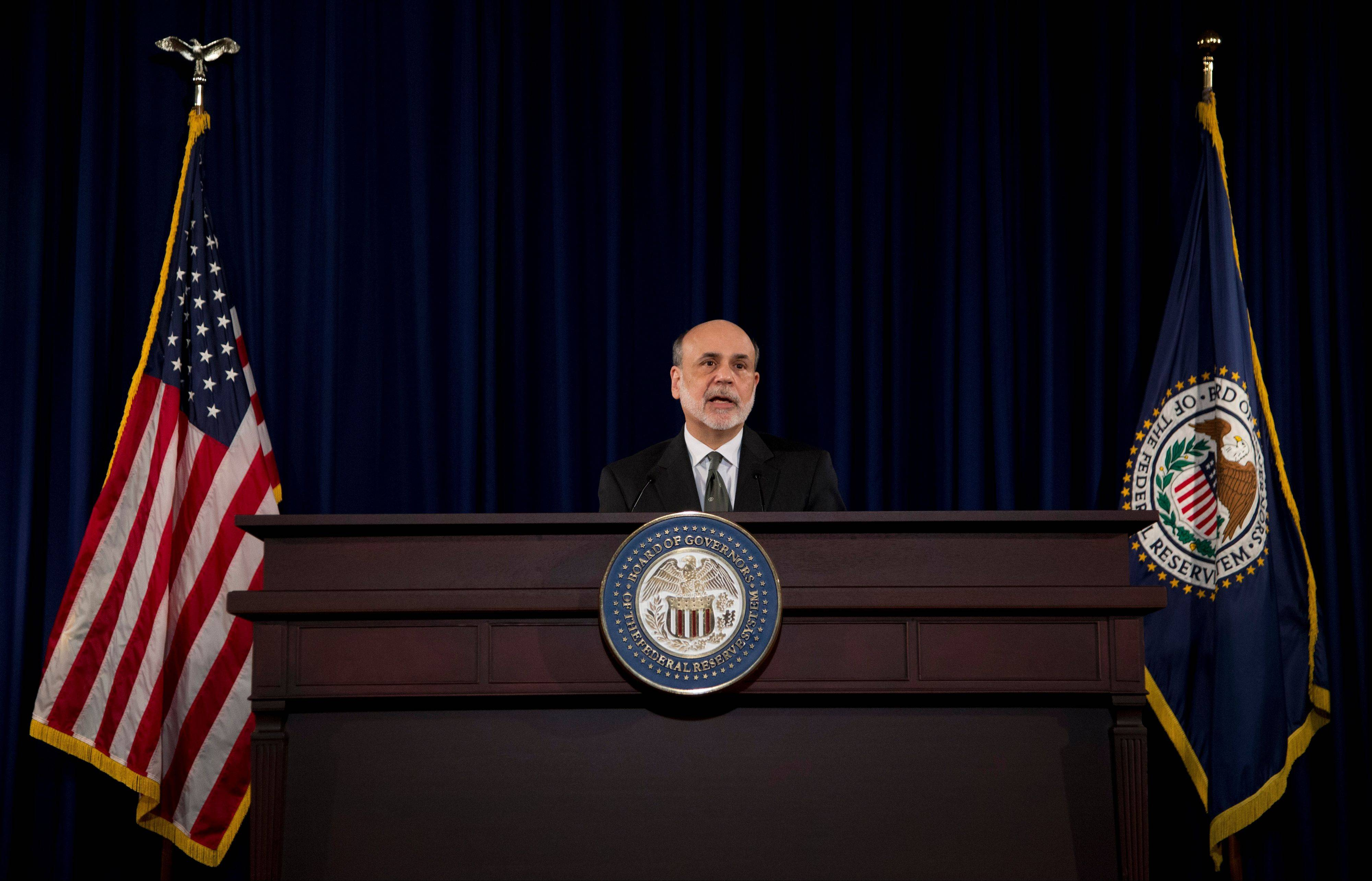 Federal Reserve Chairman Ben Bernanke speaks during a news conference in Washington.