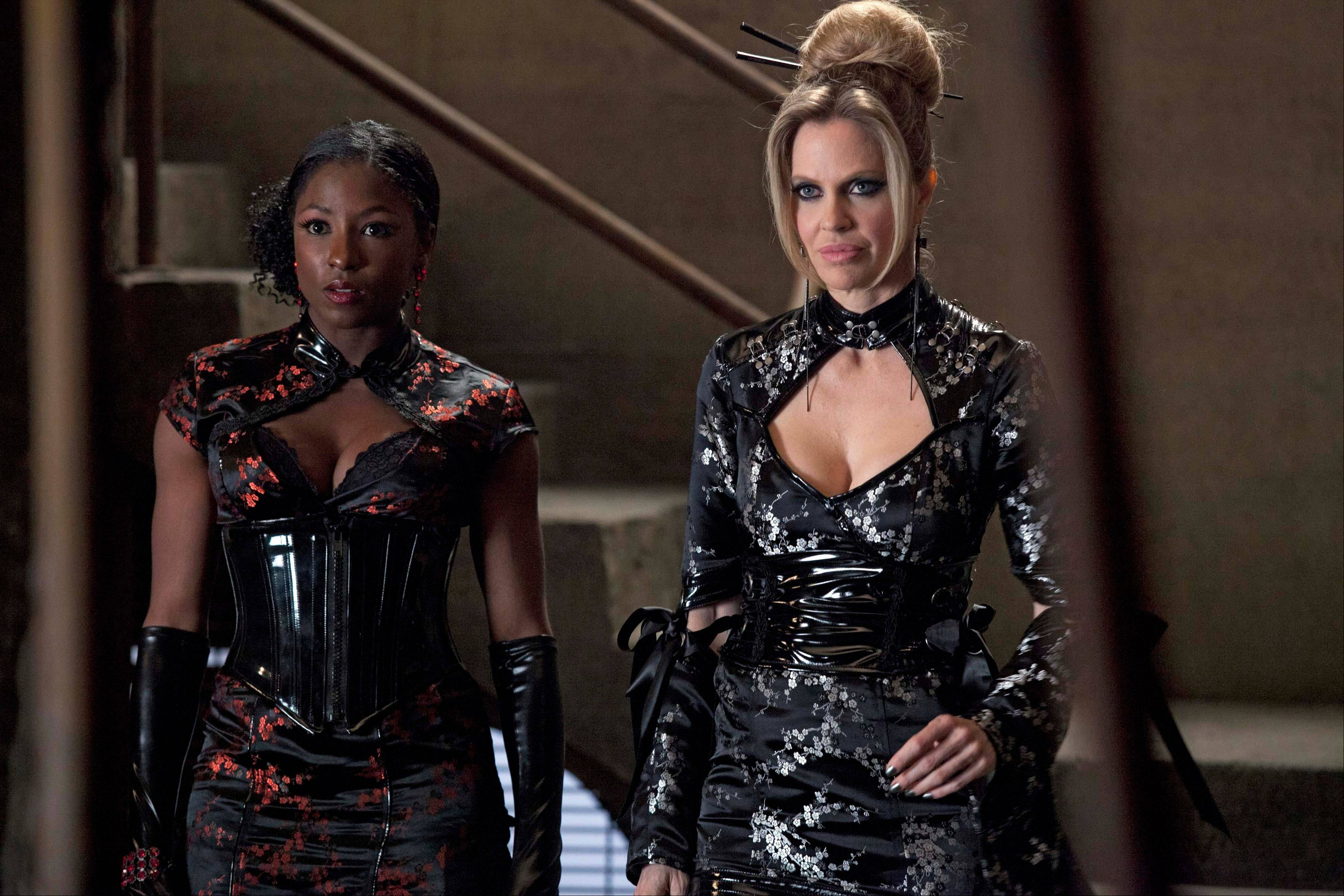 "Rutina Wesley, left, and Kristin Bauer van Straten in a scene from ""True Blood."" The HBO drama ""True Blood"" remains the most inclusive series on cable television, featuring six lesbian, gay, bisexual transgender or characters."